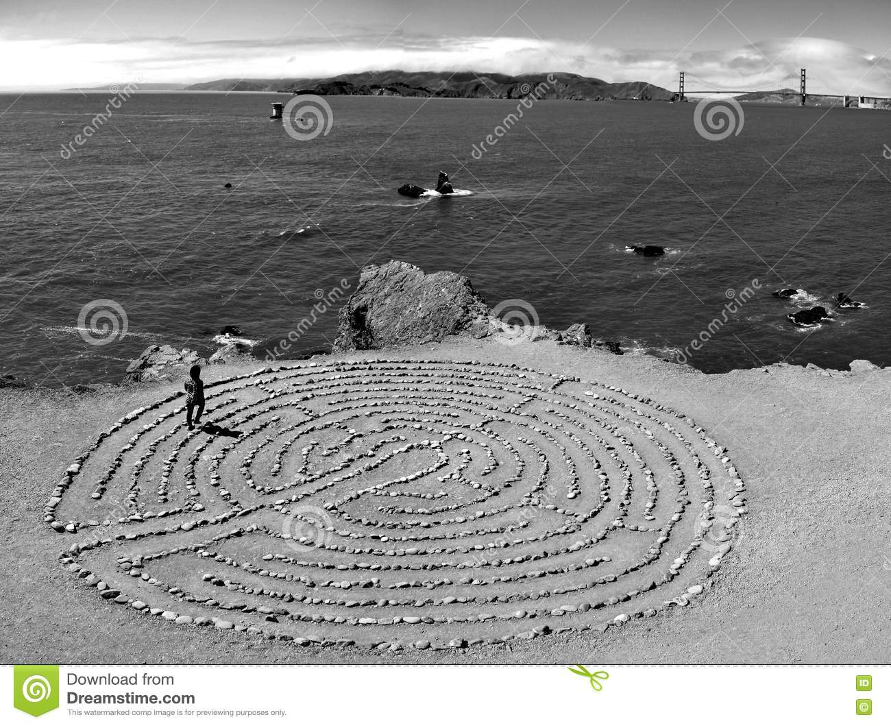 Mystical Labyrinth at lands end in San Francisco with view at the famous golden gate bridge, California, USA
