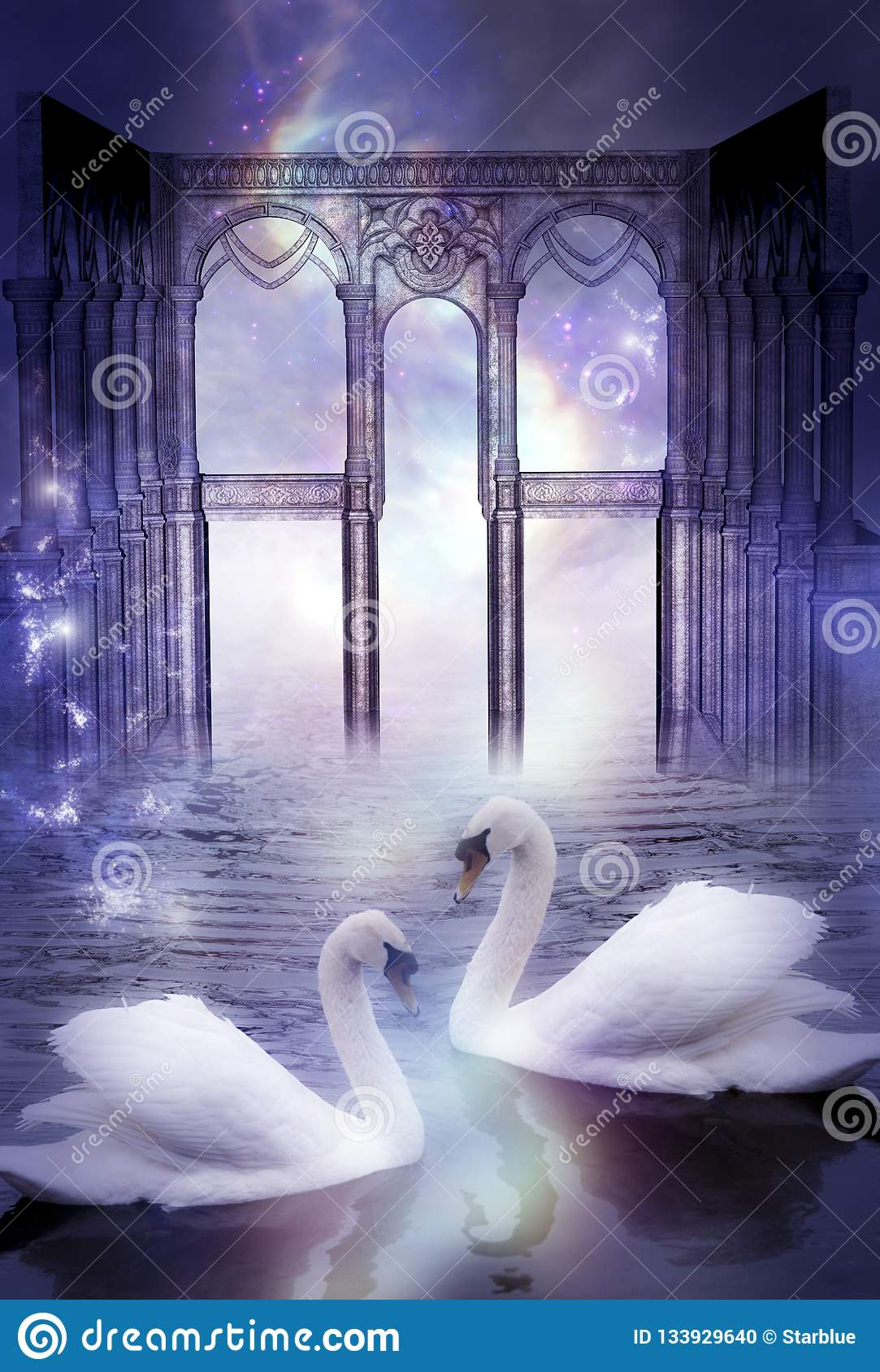 Mystical swans with divine gate like artistic surreal magic dreamy concept