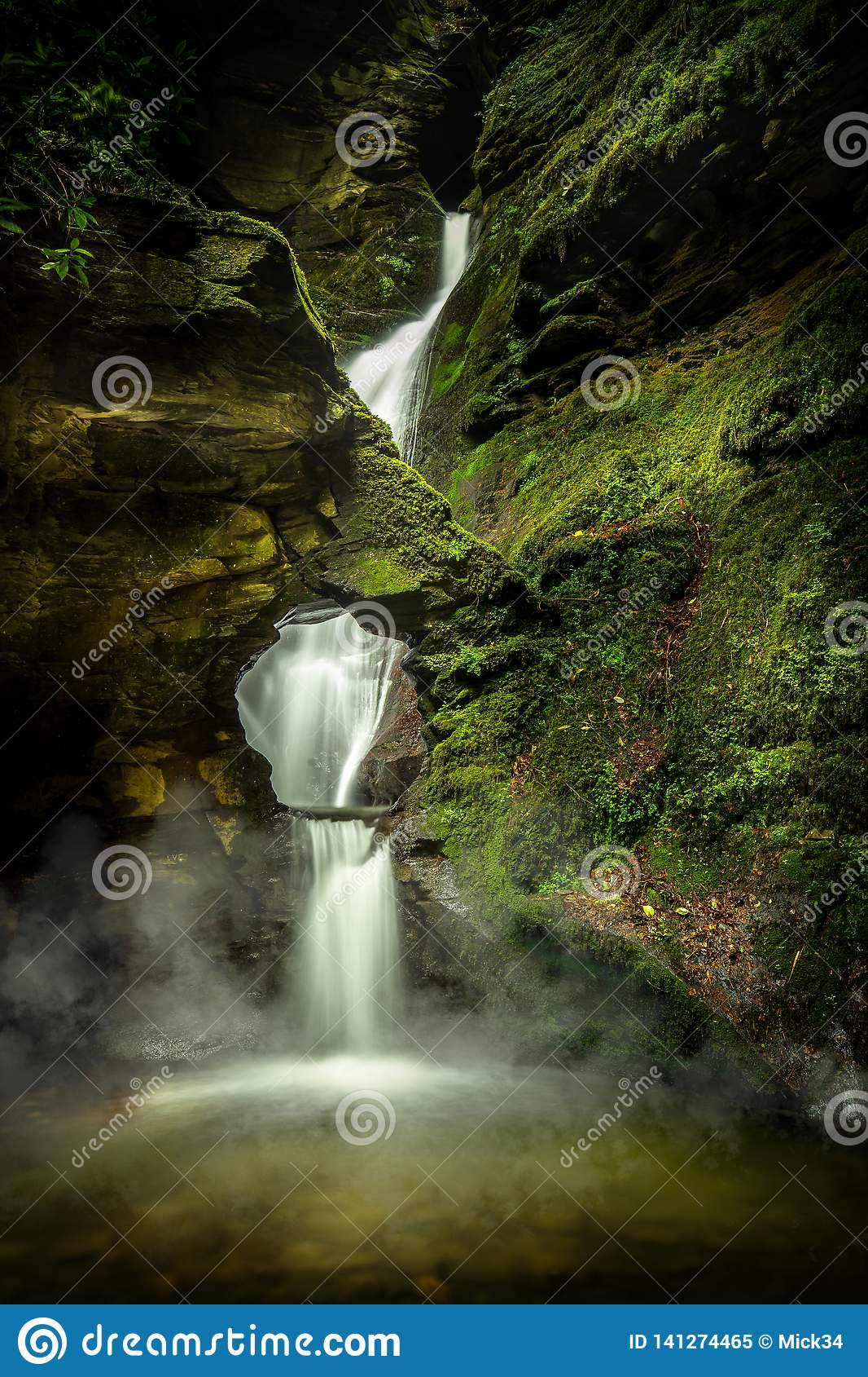 Mystical Waterfall, with Mist and Moss, St Nectans Glen, North Cornwall