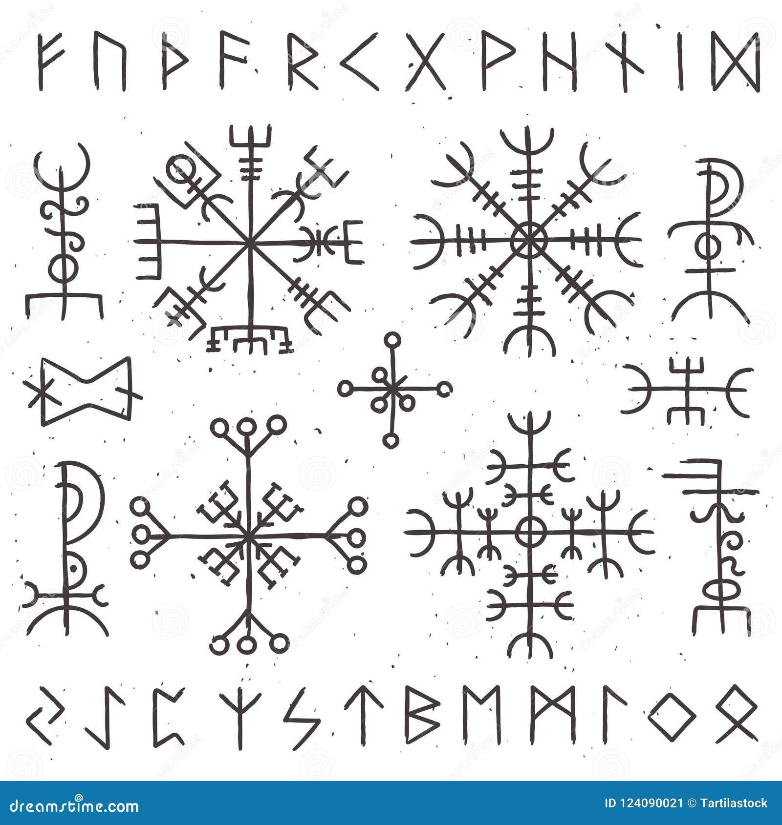 Mystische Wikinger-Runen Alter heidnischer Talisman, Skandinavierrunensymbol Mystizismusehrfurchts-Vektorsymbole