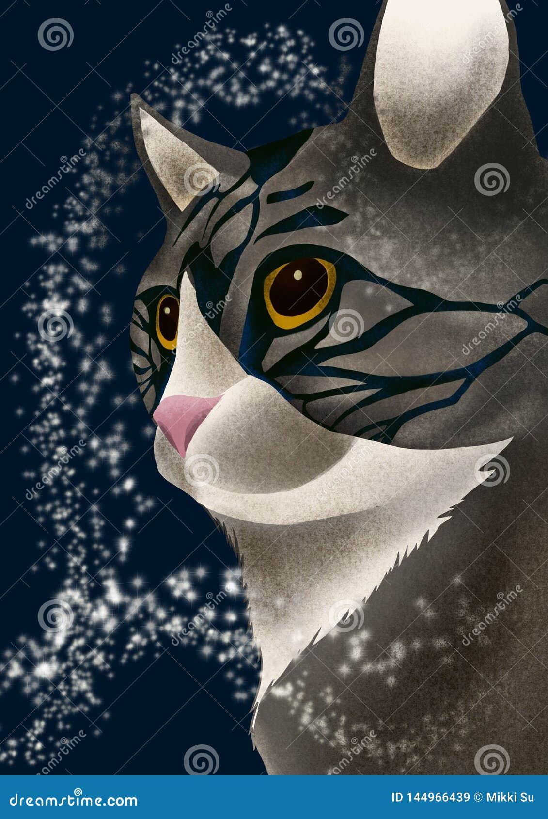 Mystisk grå katt