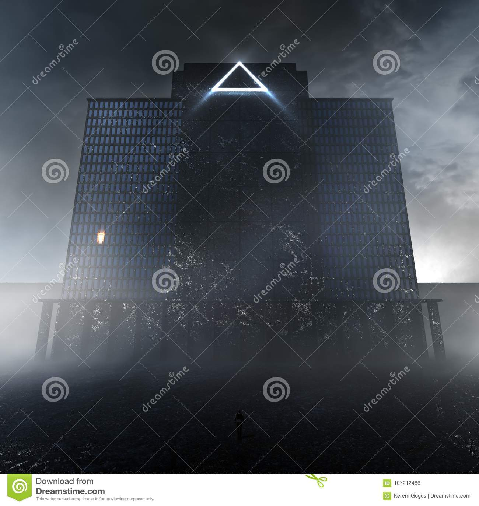 Mystisk mörk byggnad i misten
