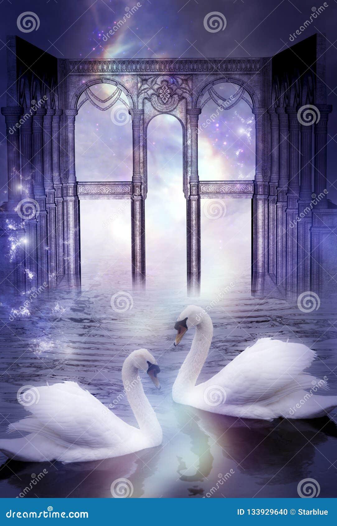 Mystiska svanar med den gudomliga porten som konstnärligt overkligt magiskt drömlikt begrepp