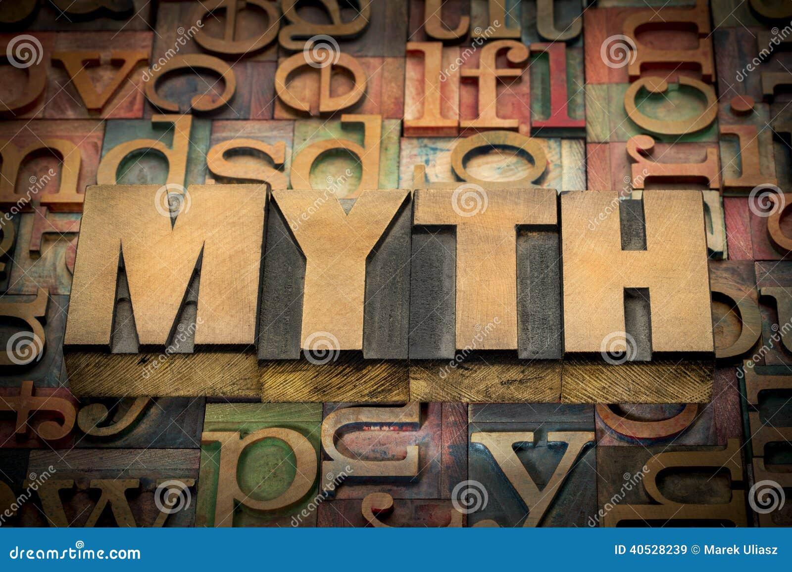 Myth word in wood type