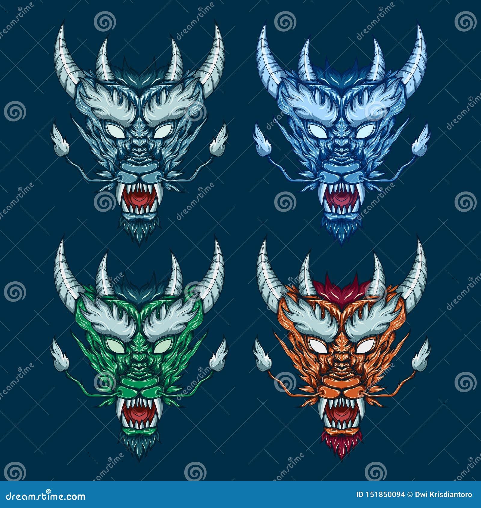 Mythical dragon head set illustration. Detailed vector art of a horned mythological dragon head