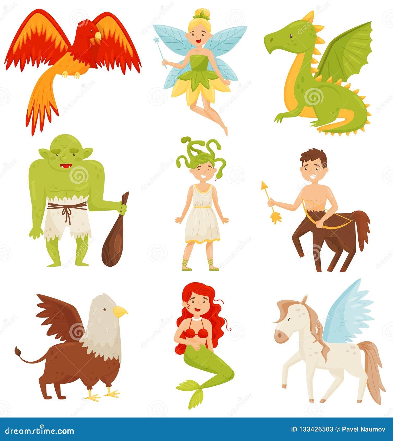 Mythical fairy tale creatures set, Centaur, Pegasus, Griffin, Medusa Gorgon, Mermaid, Dragon, Flaming Phoenix bird
