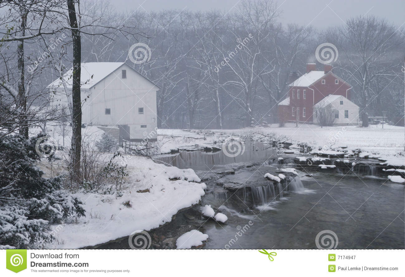 Mythical Farm In Winter Snow Royalty Free Stock
