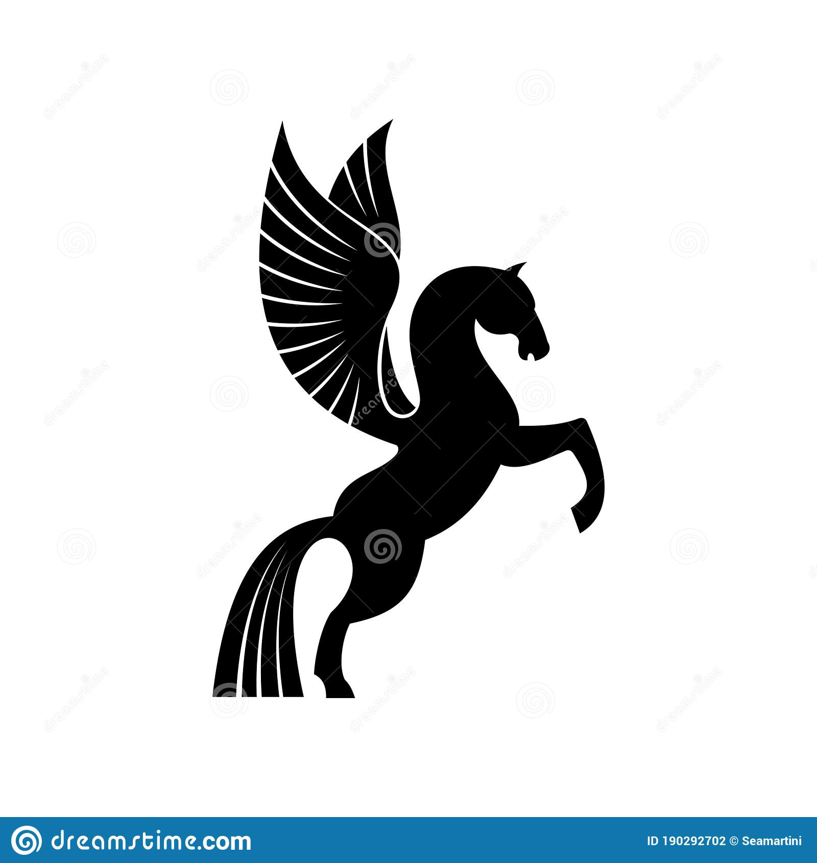 Pegasus With Wings Isolated Mythical Animal Stock Vector Illustration Of Tattoo Emblem 190292702