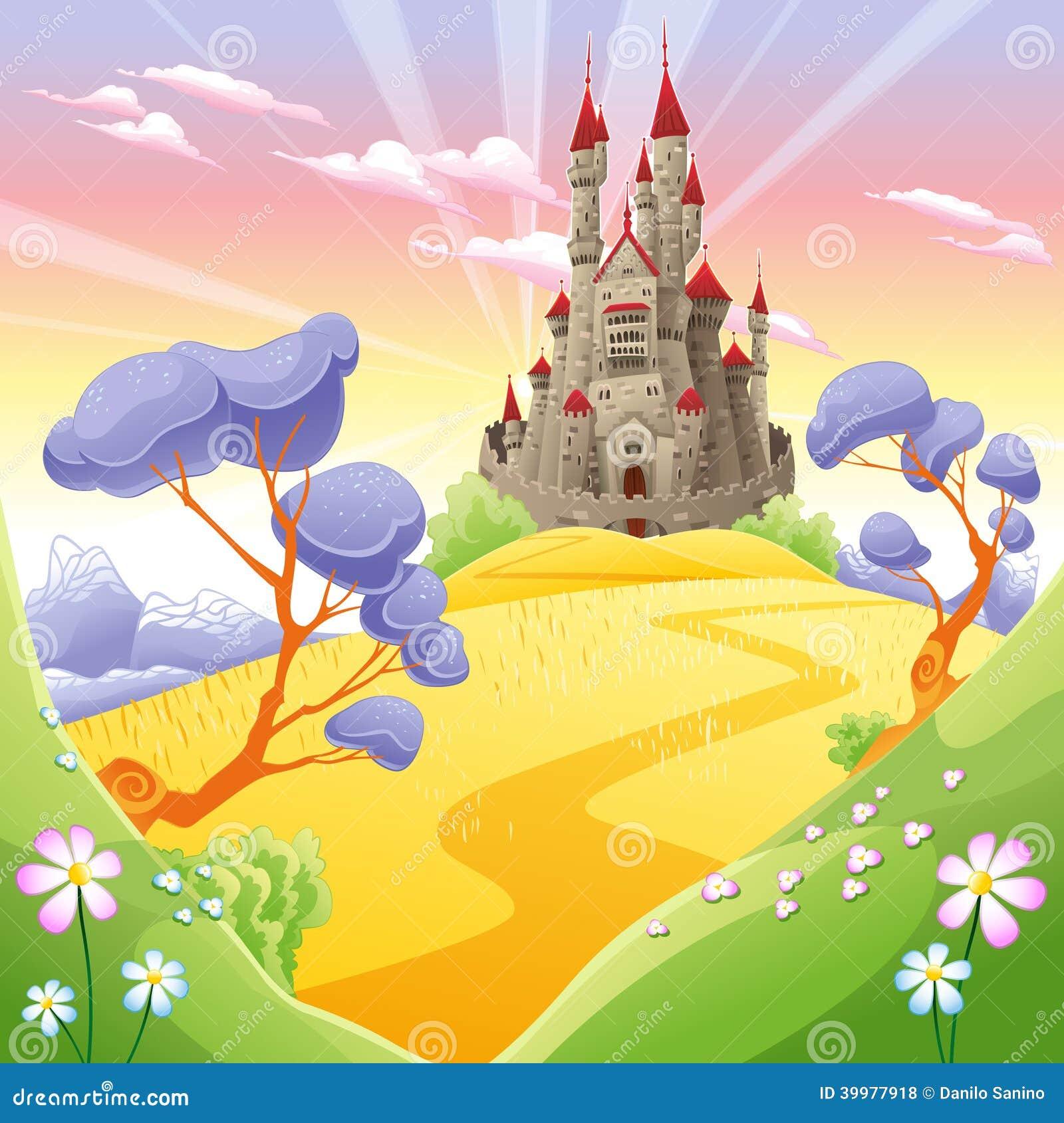 Town Landscape Vector Illustration: Mythological Landscape With Medieval Castle. Stock Vector