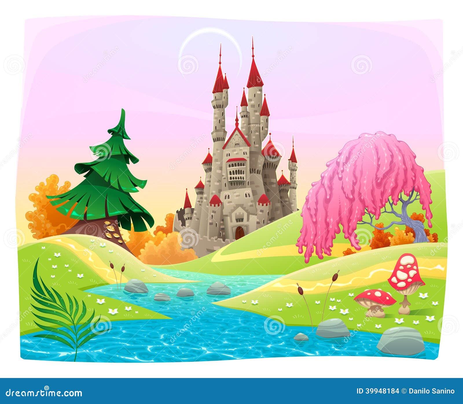 Mythologisch landschap met middeleeuws kasteel.