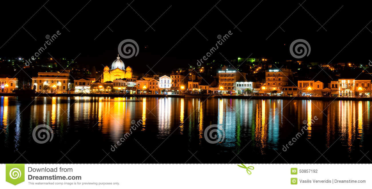 Mytilene City view from the sea at night