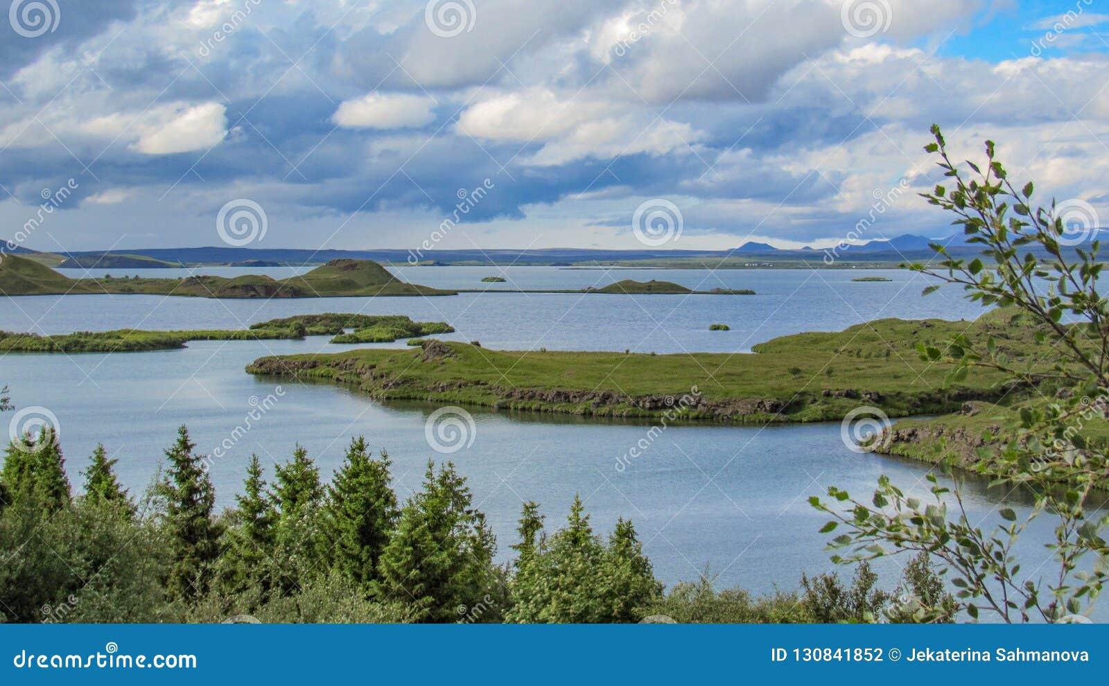 Myvatn See mit grünen pseudocraters und Inseln bei Skutustadagigar, Diamond Circle, in Nord-Island, Europa