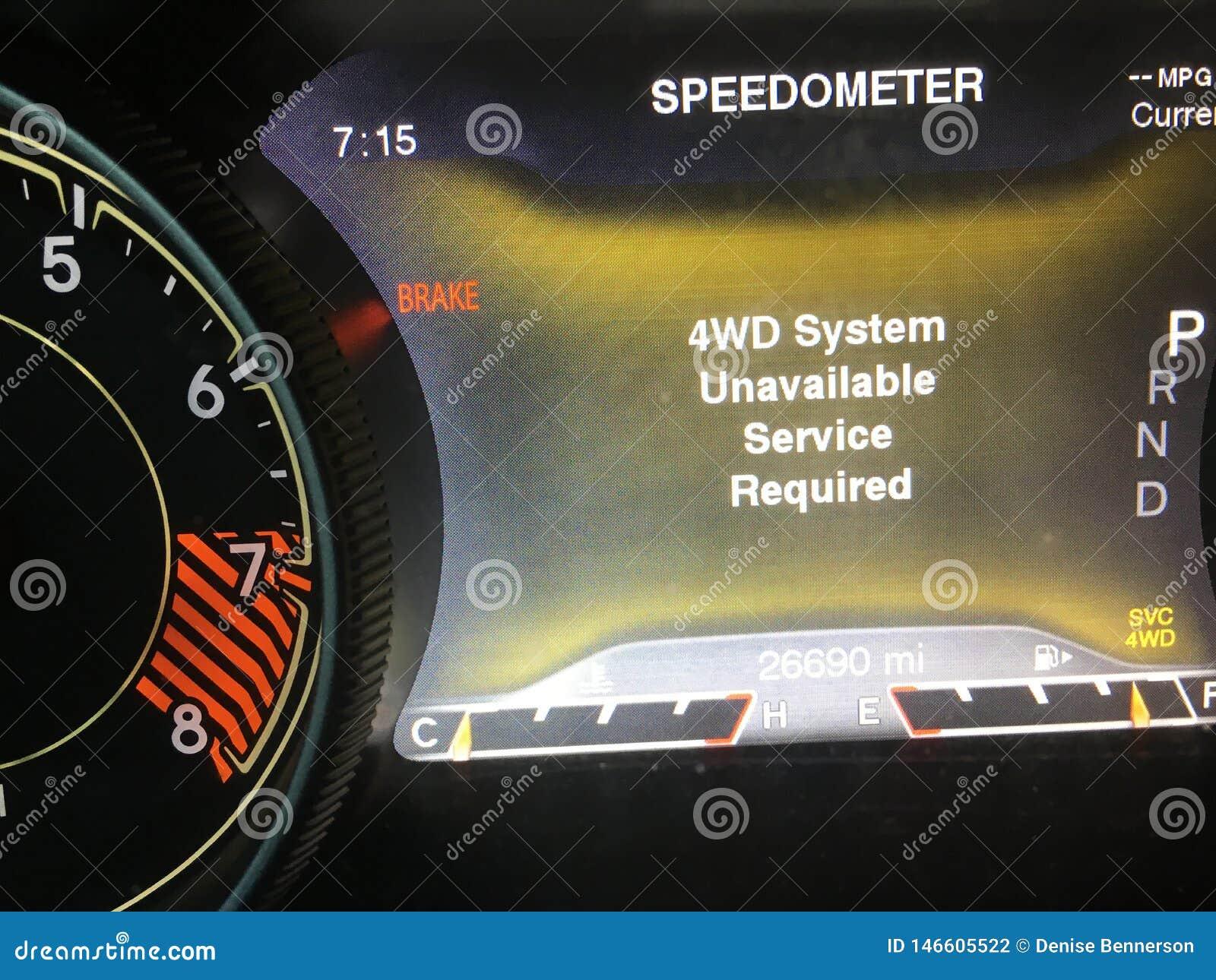 Não disponível do sistema de movimentação da roda do carro 4 falhado