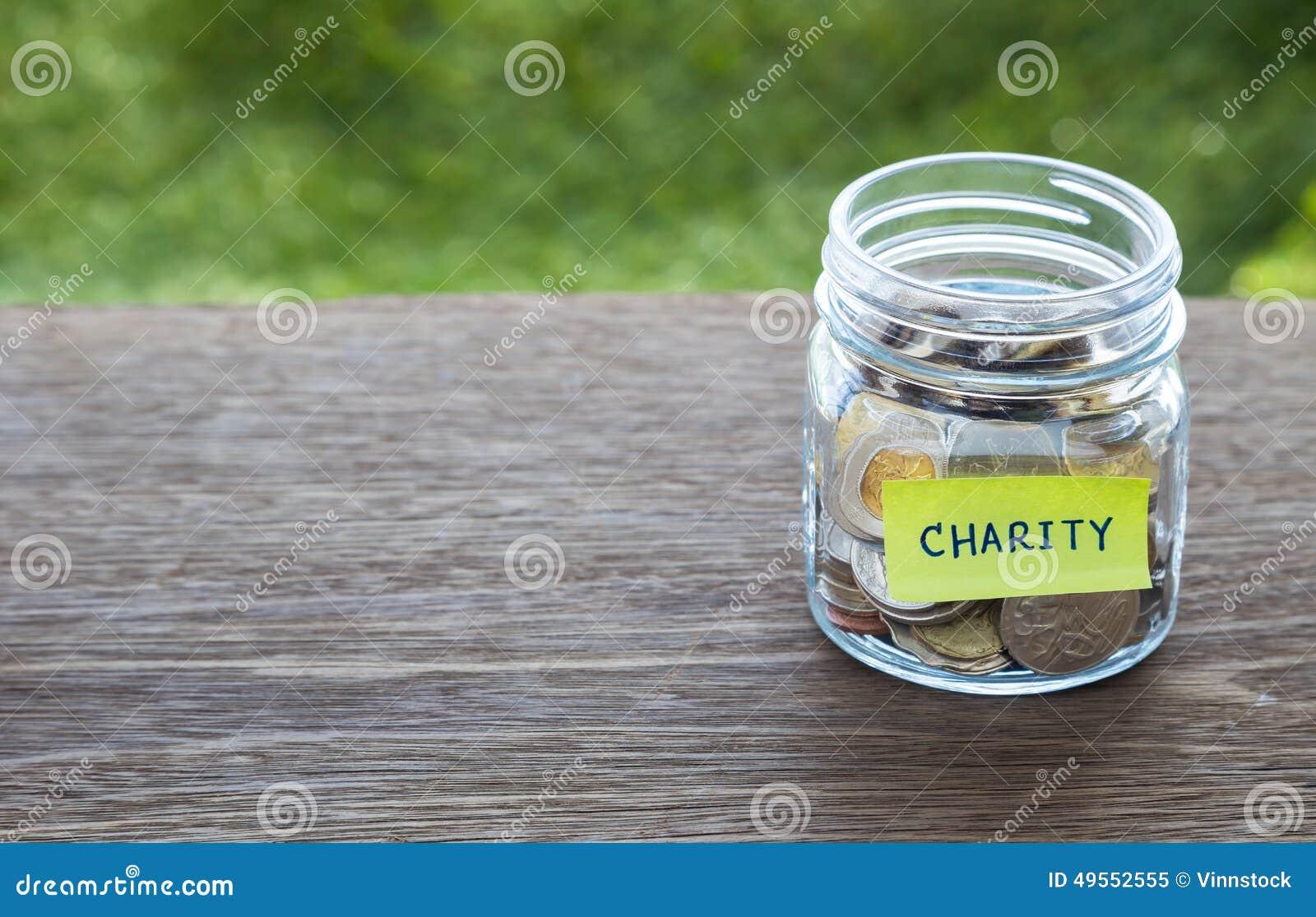 Nächstenliebespenden-Geldglasgefäß