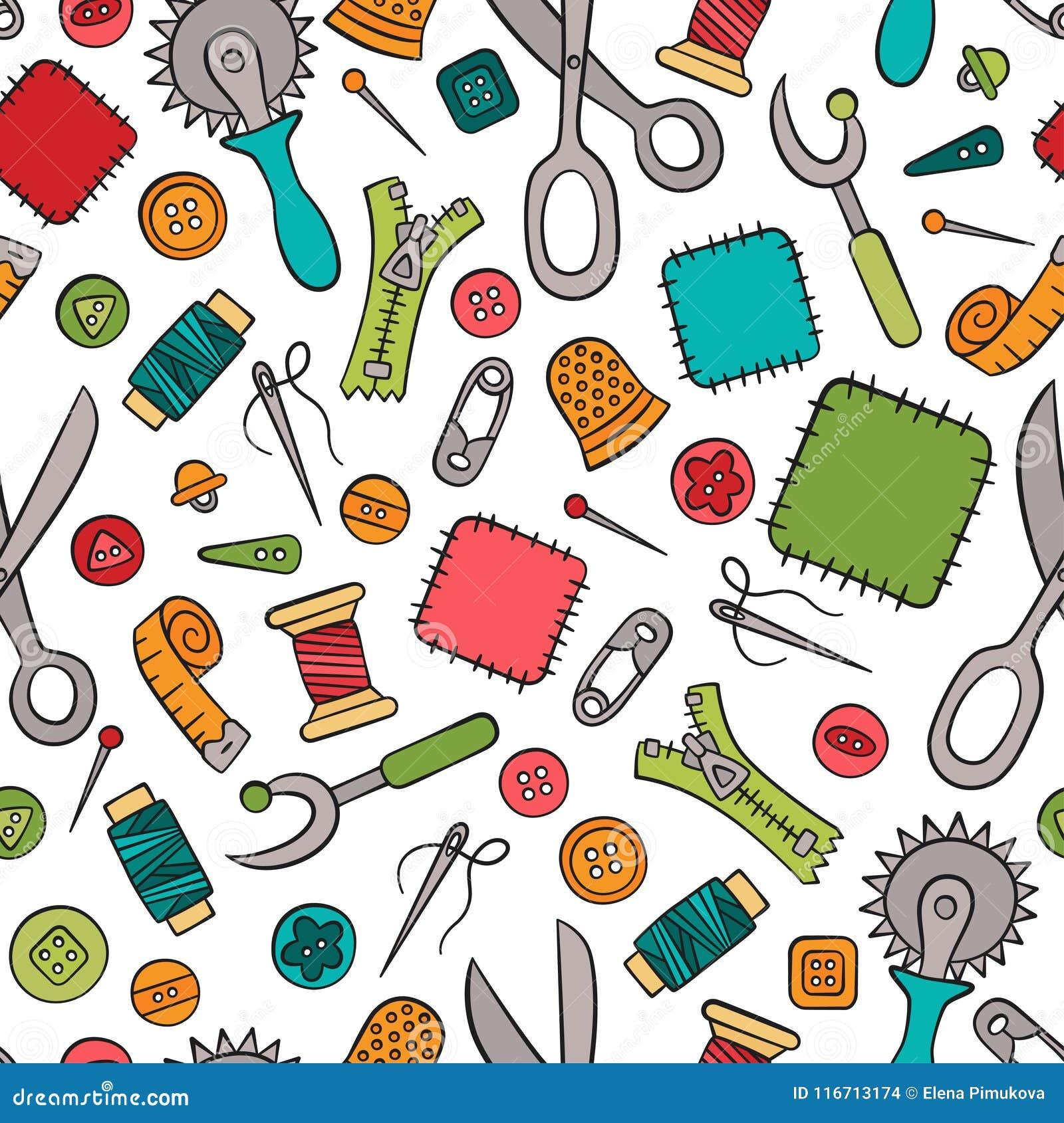 Nähen und Näharbeit Hilfsmittel und Zubehör Nahtloses Muster in der Gekritzel- und Karikaturart bunt linear