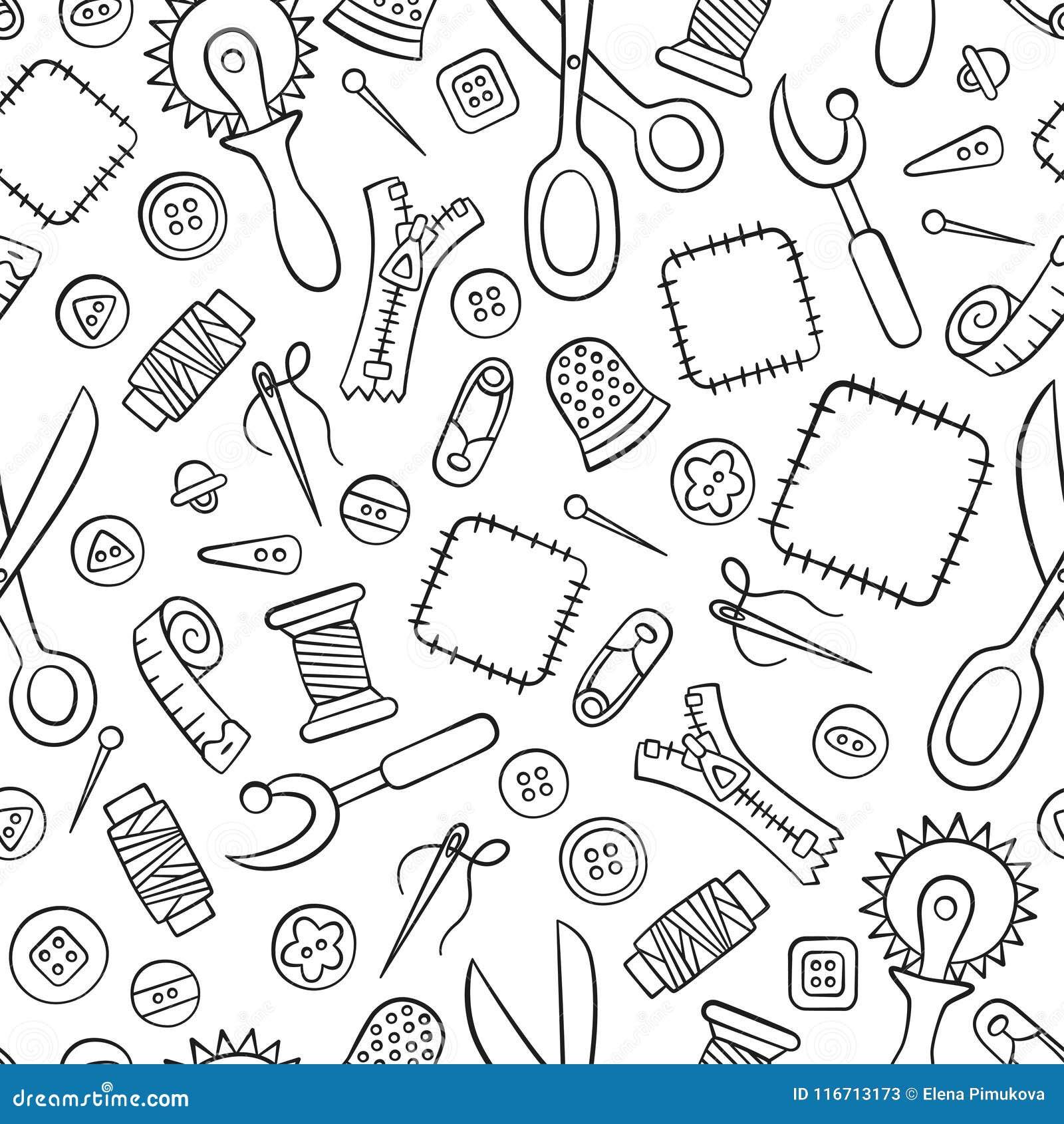 Nähen und Näharbeit Hilfsmittel und Zubehör Nahtloses Muster in der Gekritzel- und Karikaturart linear