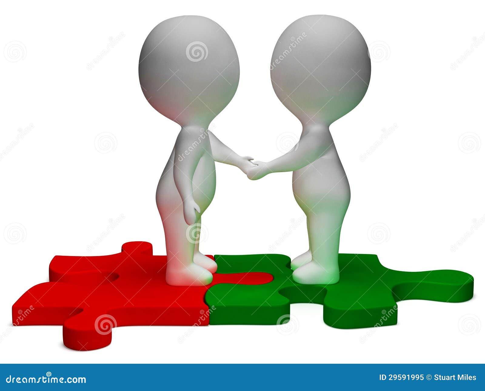 När du skakar tecken för händer 3d visar partners och kamratskap