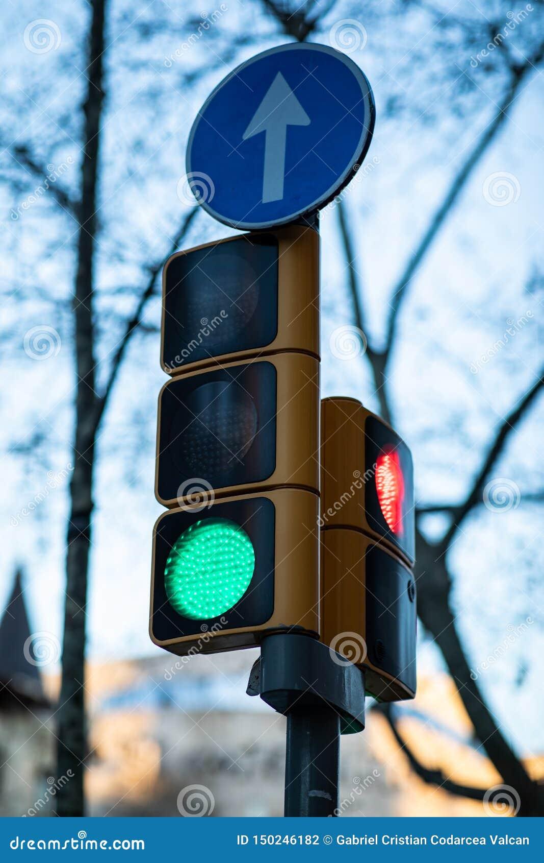 Nära sikt av en grön trafikljus med suddig bakgrund