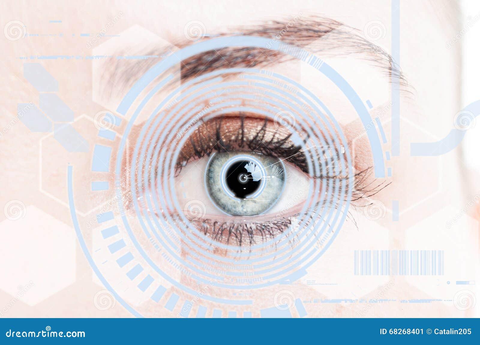 Närbildöga med digitalt näthinneskydd