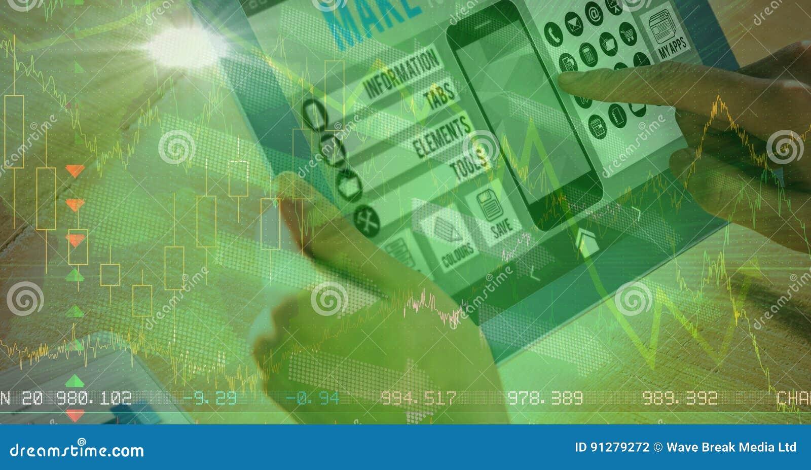 Närbild av den rörande skärmen för hand