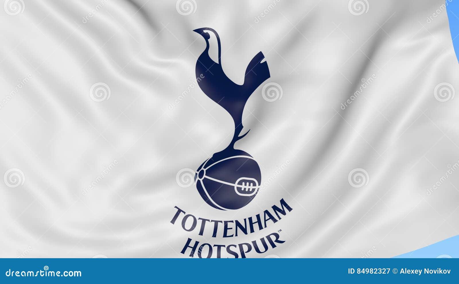 Närbild av den vinkande flaggan med Tottenham Hotspur F C Fotbollklubbalogo