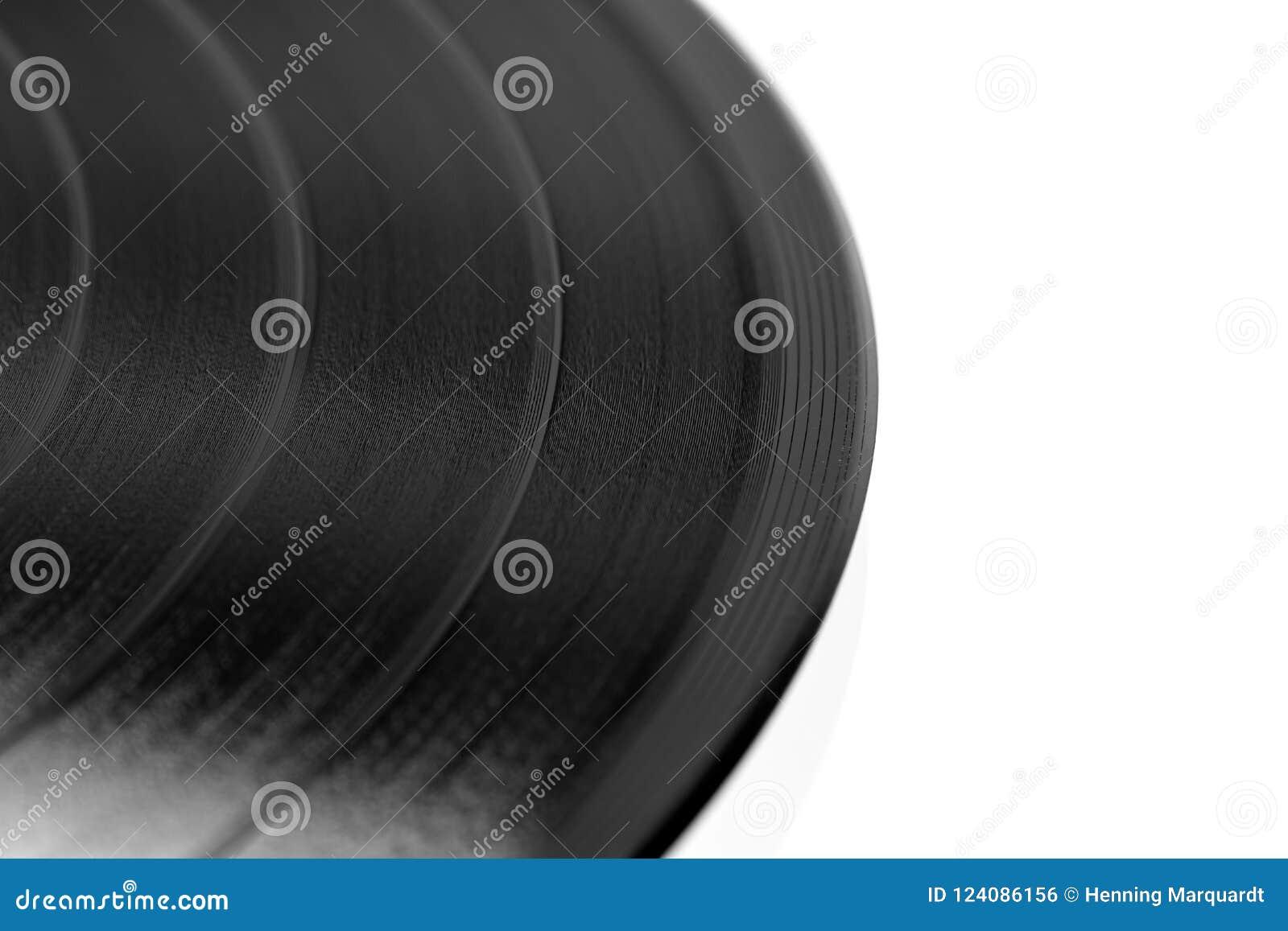 Närbild av en svart retro rekord- yttersida med kopieringsutrymme