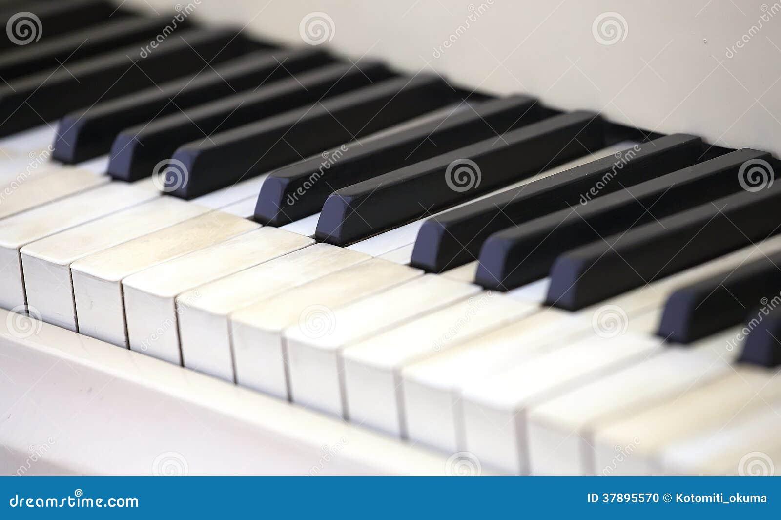 Närbild av pianotangenter.
