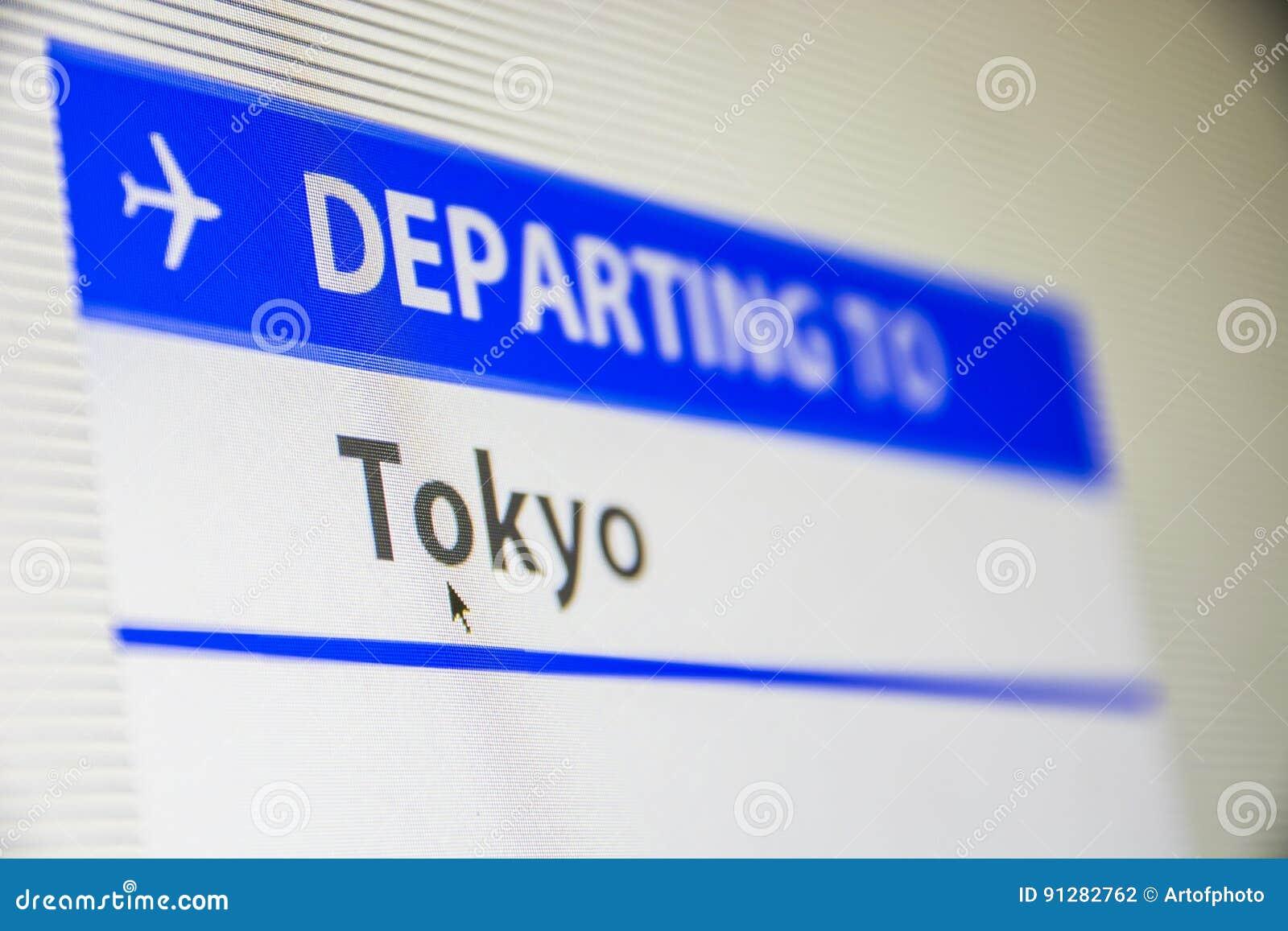 Närbild för datorskärm av flyget till Tokyo