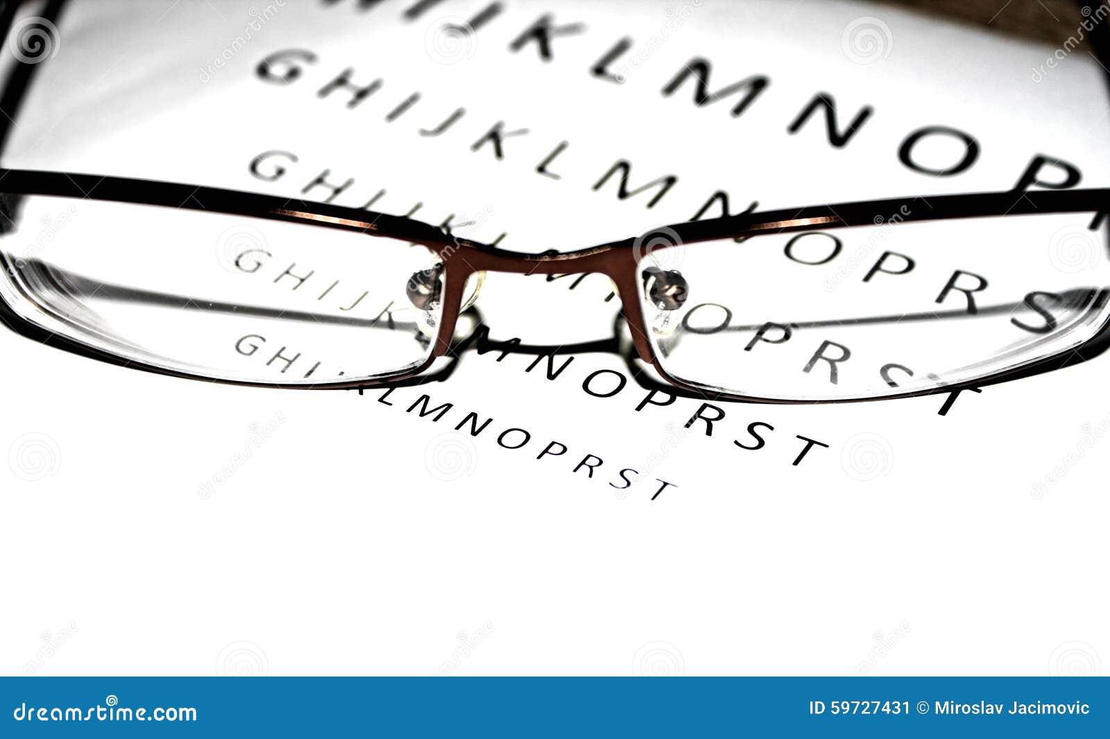 Närbildblick av exponeringsglas med bokstäver i baksidan