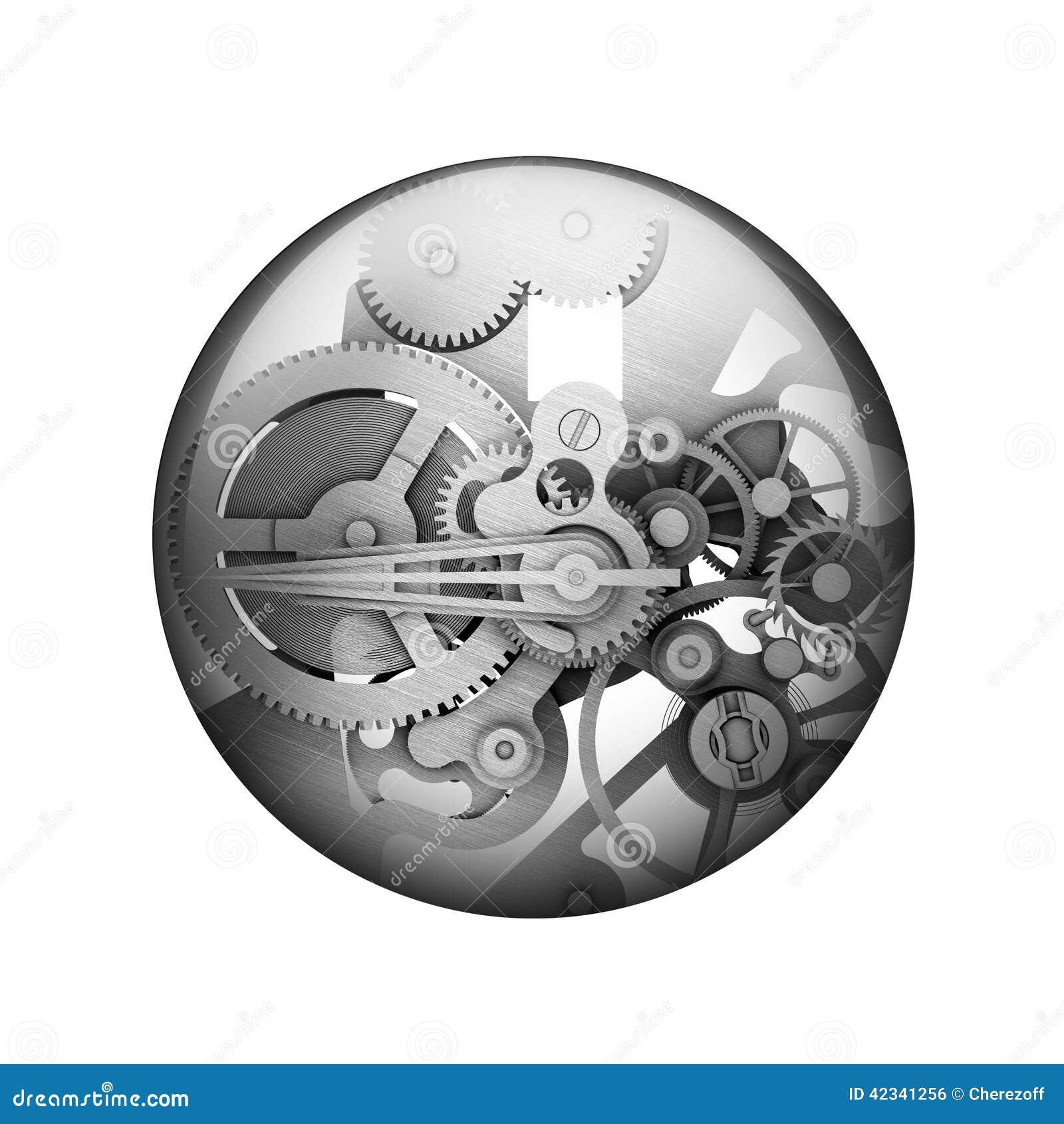 Närbilden av två stålkugghjul anknöt begreppet för förälskelse, familj, teamwork och partnerskap Sfärisk glansig knapp