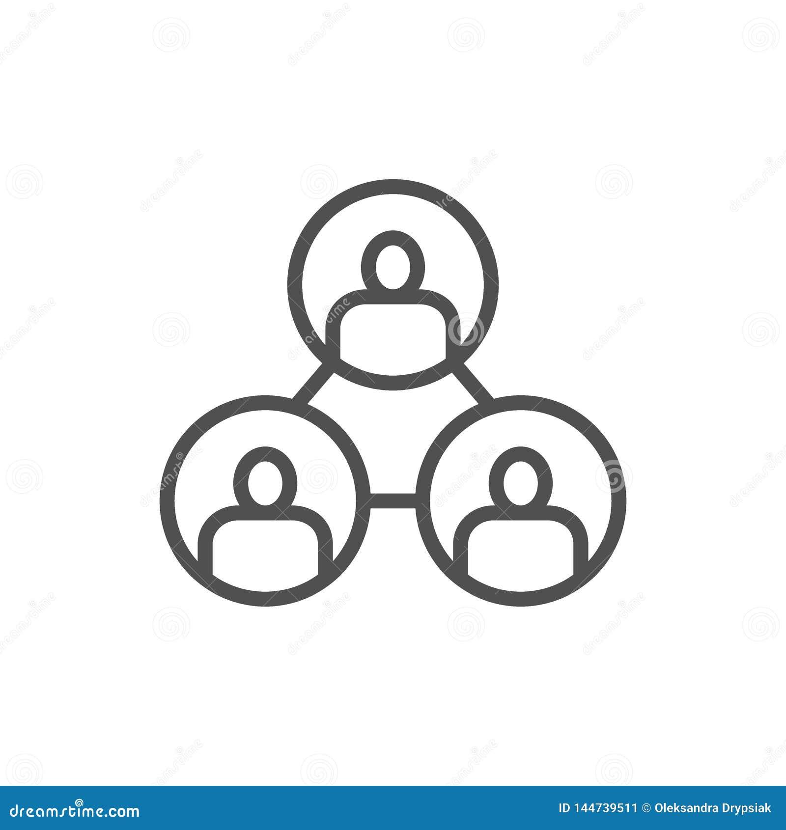 N?ringsliv teamwork, folkanslutning, blockchainlinje symbol