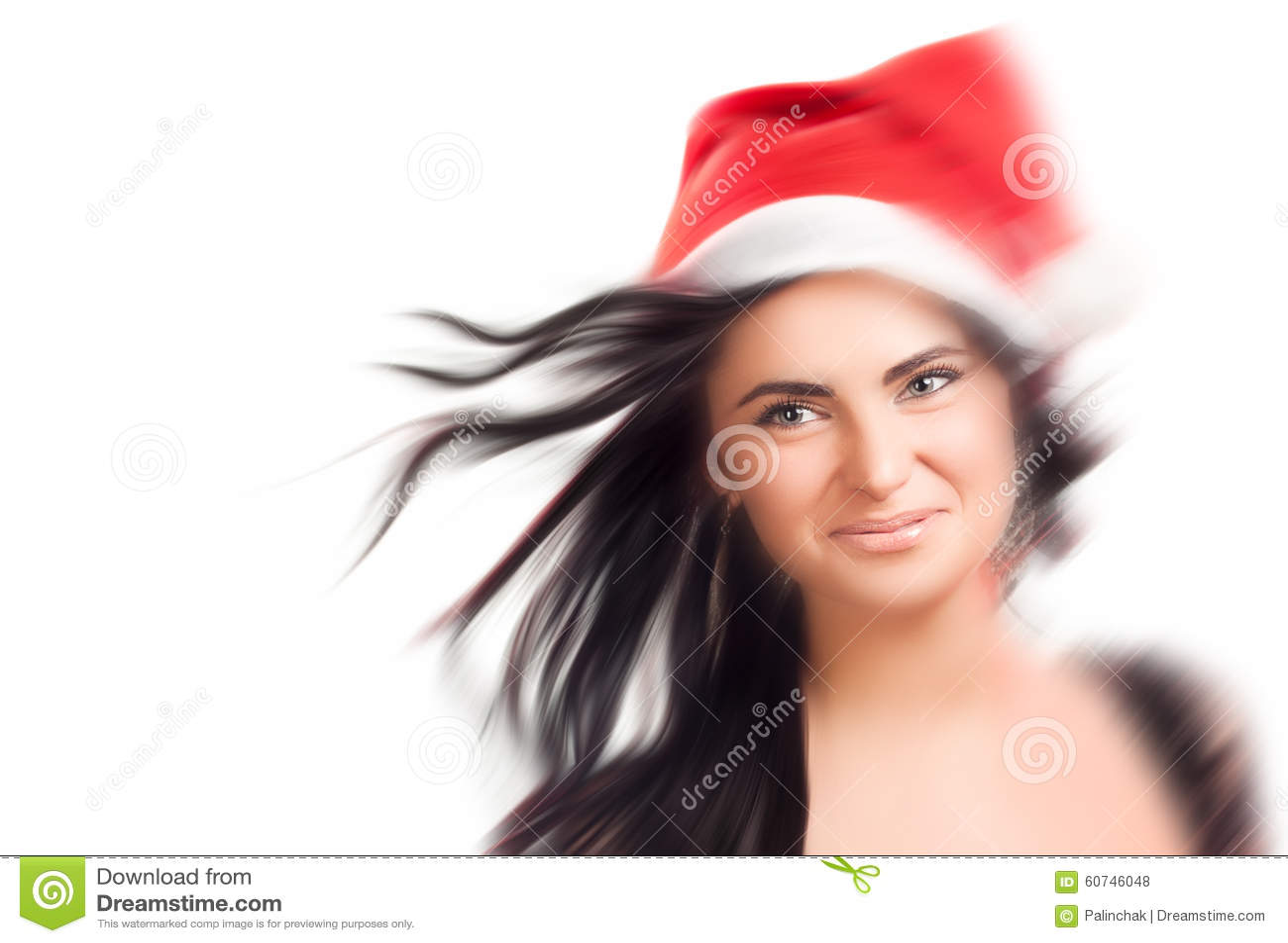 Nätt kvinna i den röda Santa Claus hatten