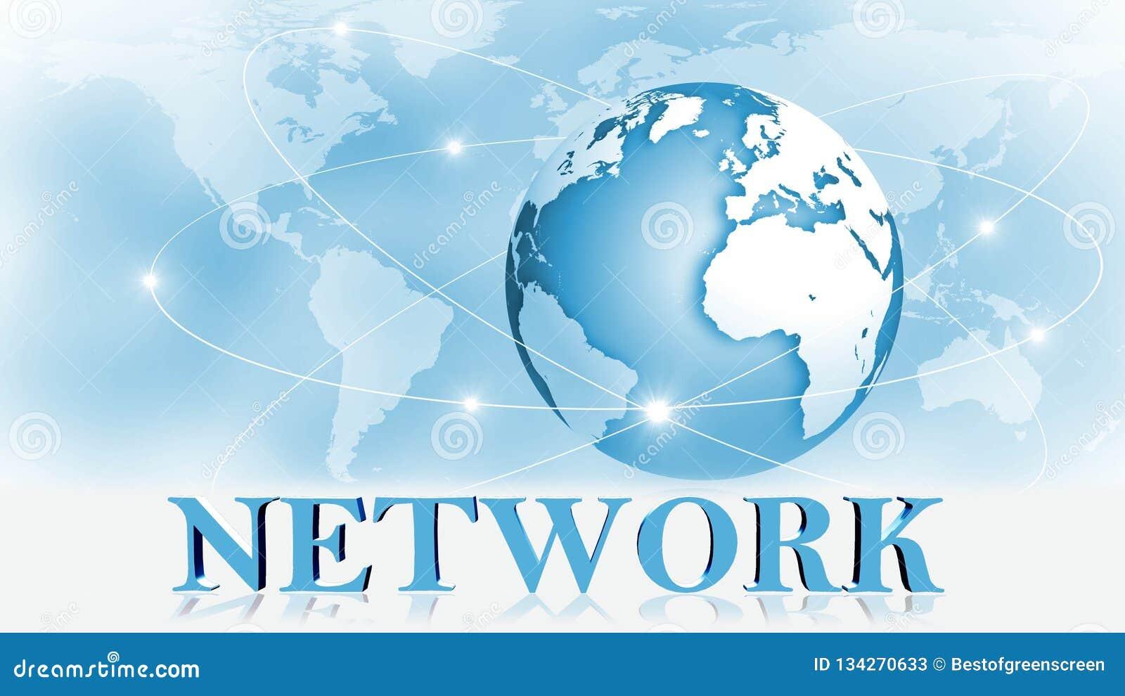NÄTVERK - bokstäver 3D framme av bakgrundsaffären eller internetbegreppet av det globala nätverket