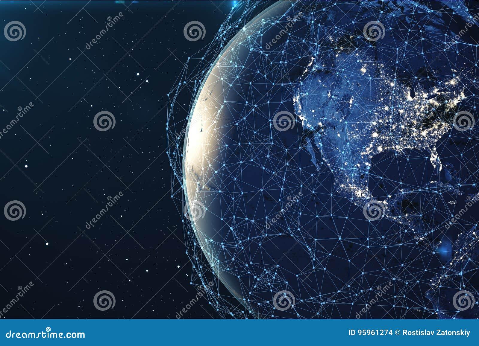 Nätverk för tolkning 3D och datautbyte över planetjord i utrymme Anslutning fodrar runt om jordjordklotet globalt