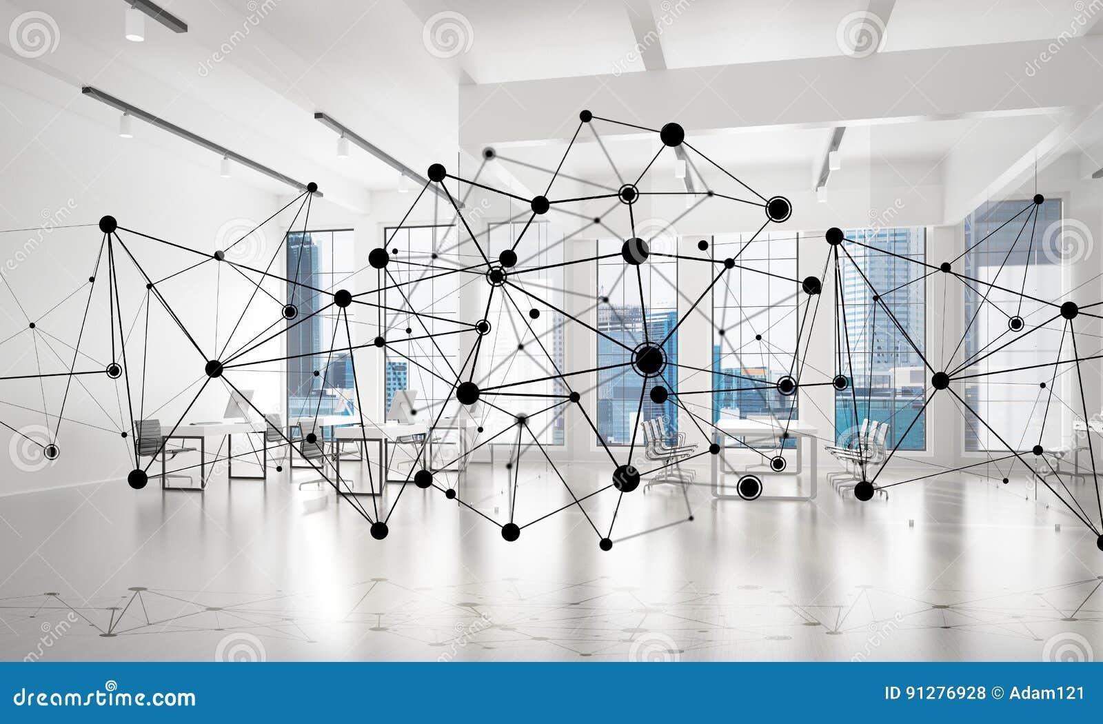 Nätverkande och radioanslutning som begreppet för effektiv modern affär