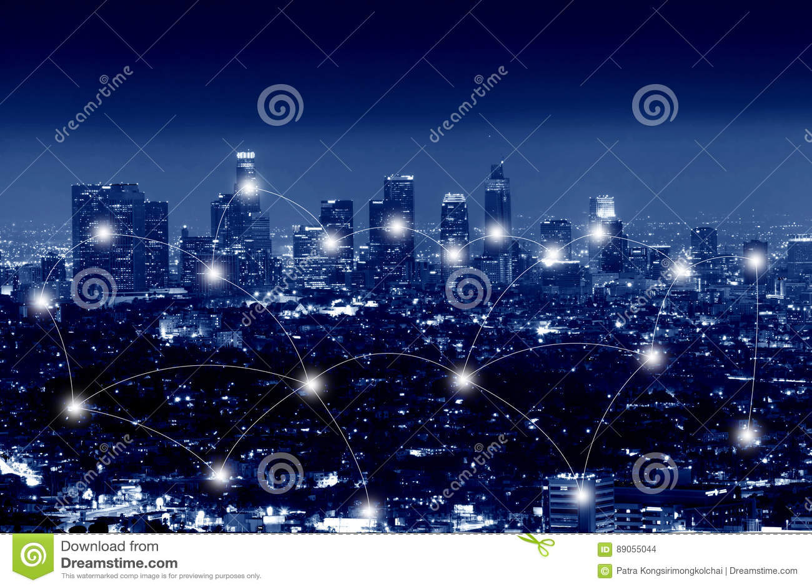Nätverks- och anslutningsteknologibegrepp av staden av Los Angeles