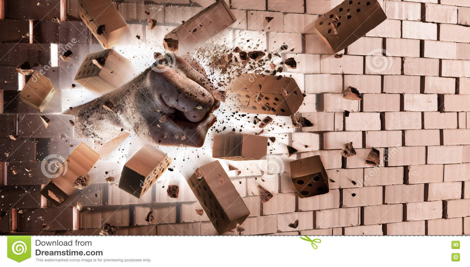 Näve som bryter väggen - styrka