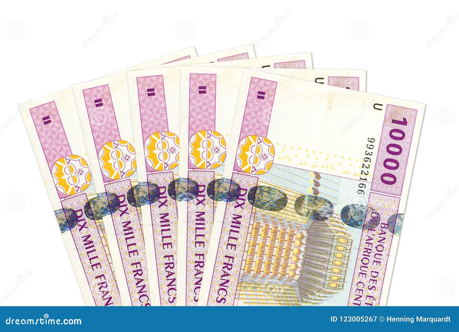 Någon avers för sedel för franc för 10000 central afrikanCFA