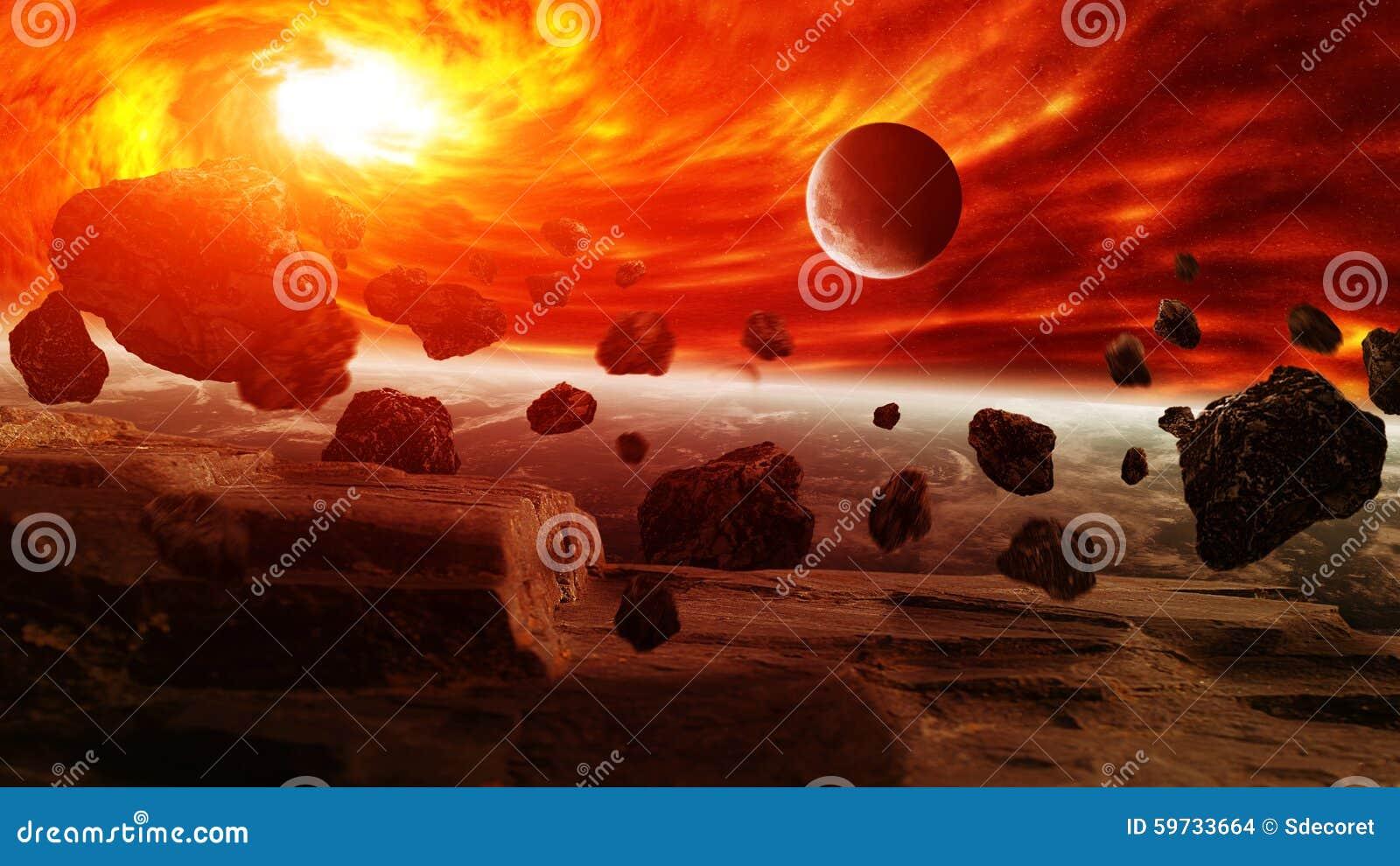 Nébuleuse rouge dans l espace avec la terre de planète