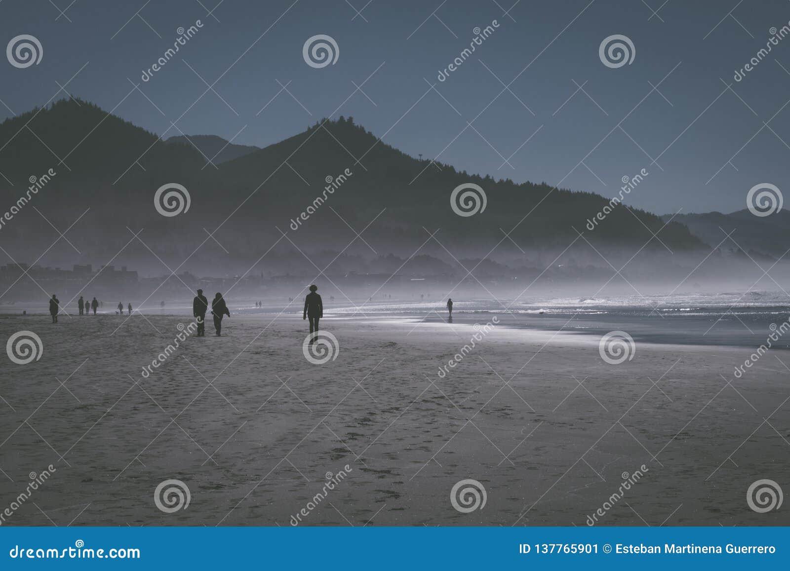 A névoa do oceano entra no por do sol na praia do canhão, Oregon, EUA