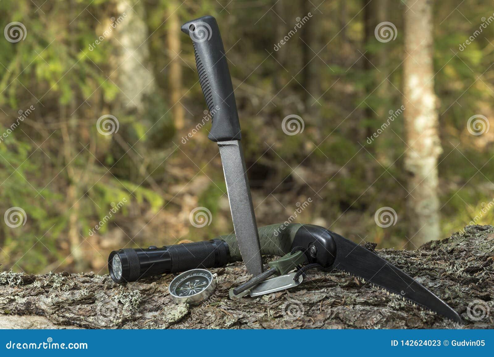 Nóż i krzemień na fiszorku w lasowym campingu w naturze Przetrwanie w dzikim