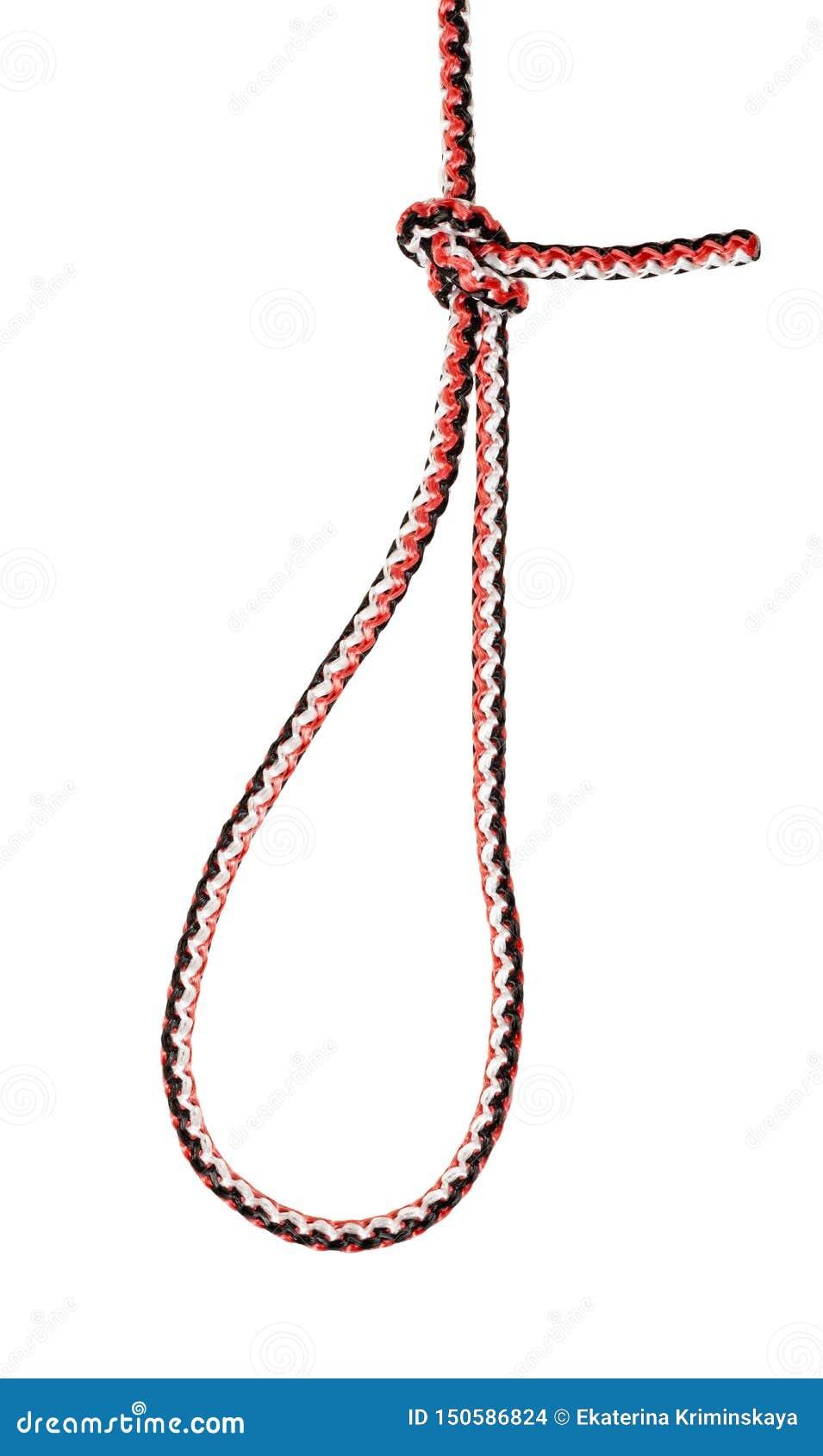 Nó de laço da perfeição do laço do pescador amarrado na corda