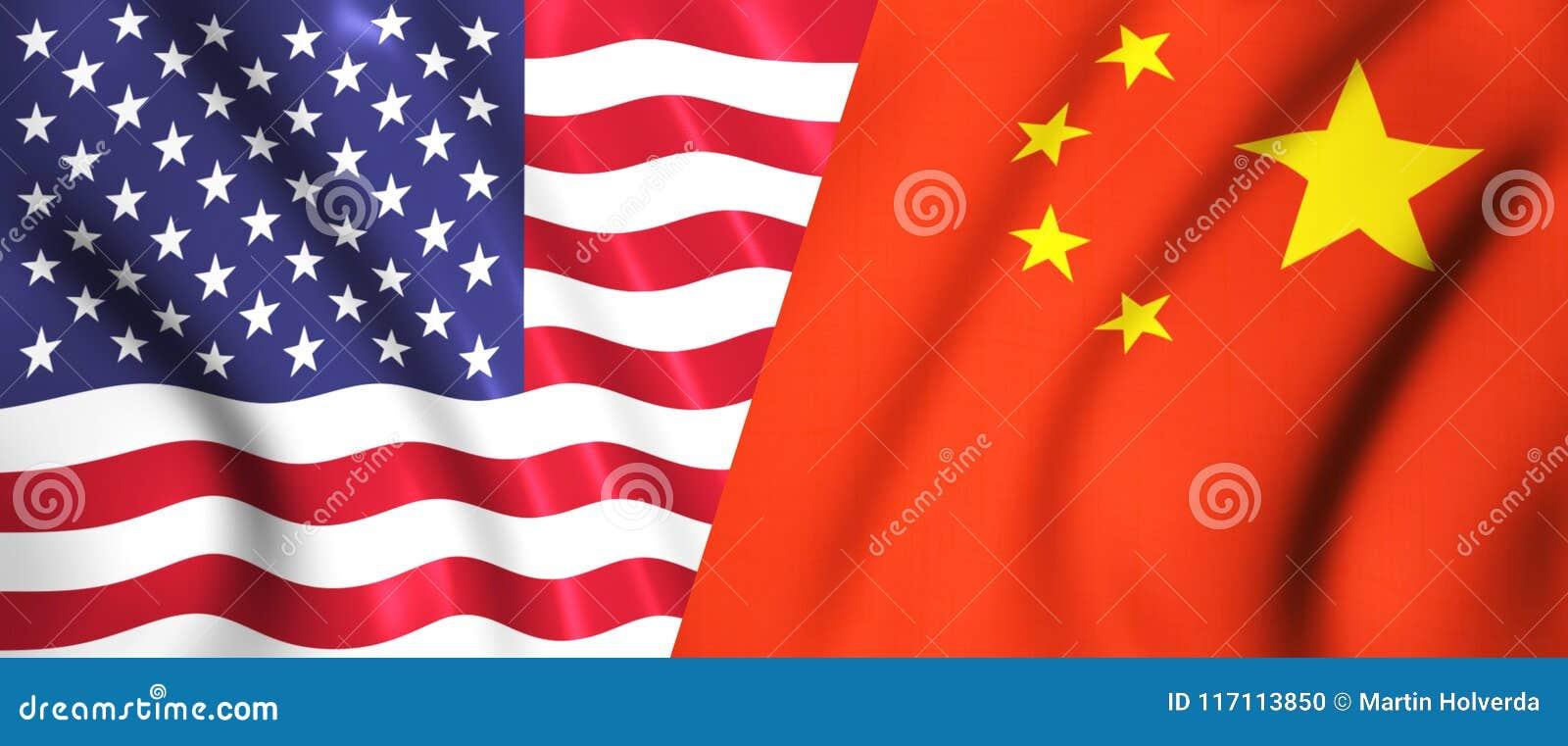 Nós bandeira e bandeira chinesa que acenam no vento