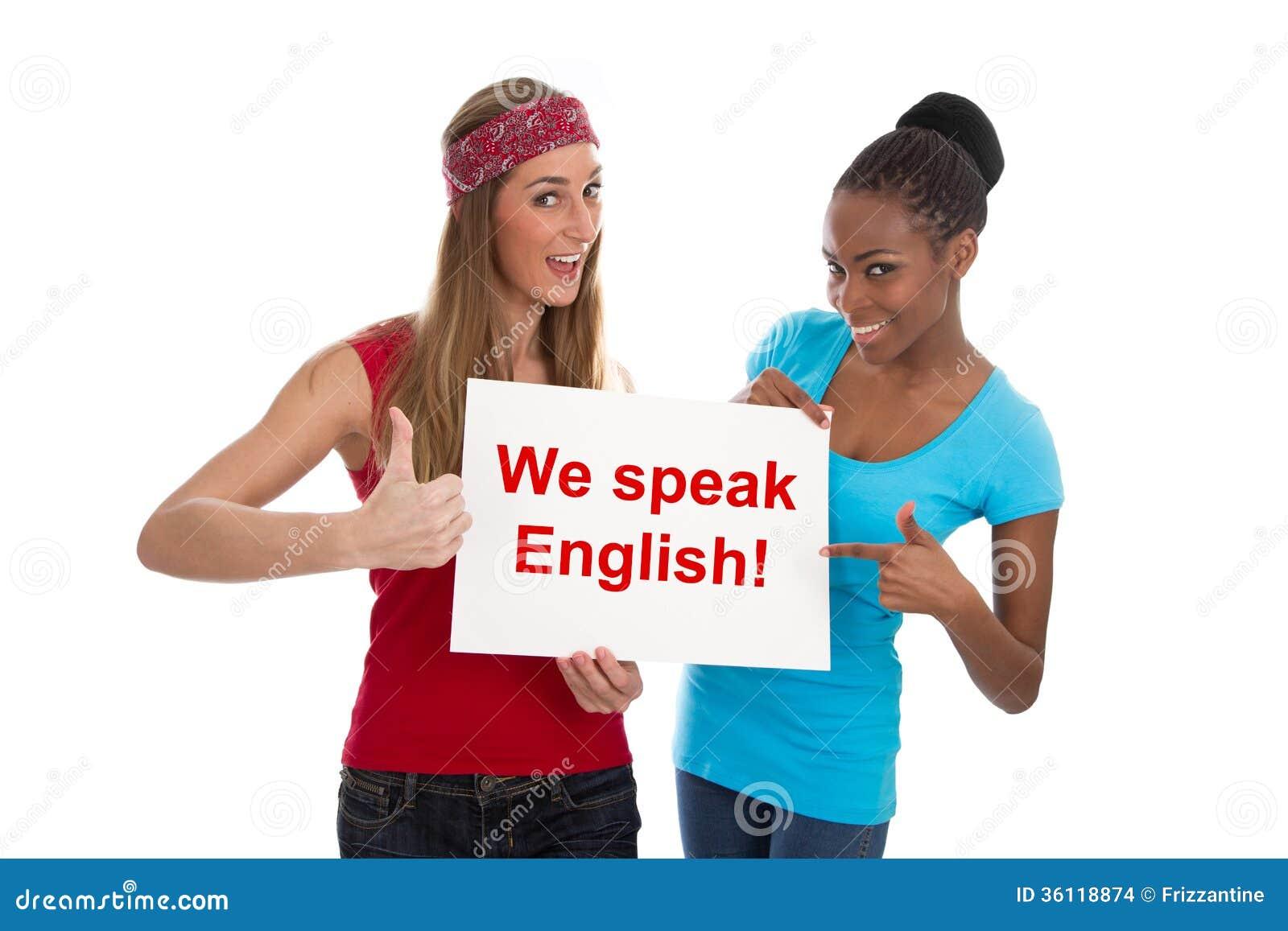Nós falamos o inglês - duas mulheres isoladas no branco