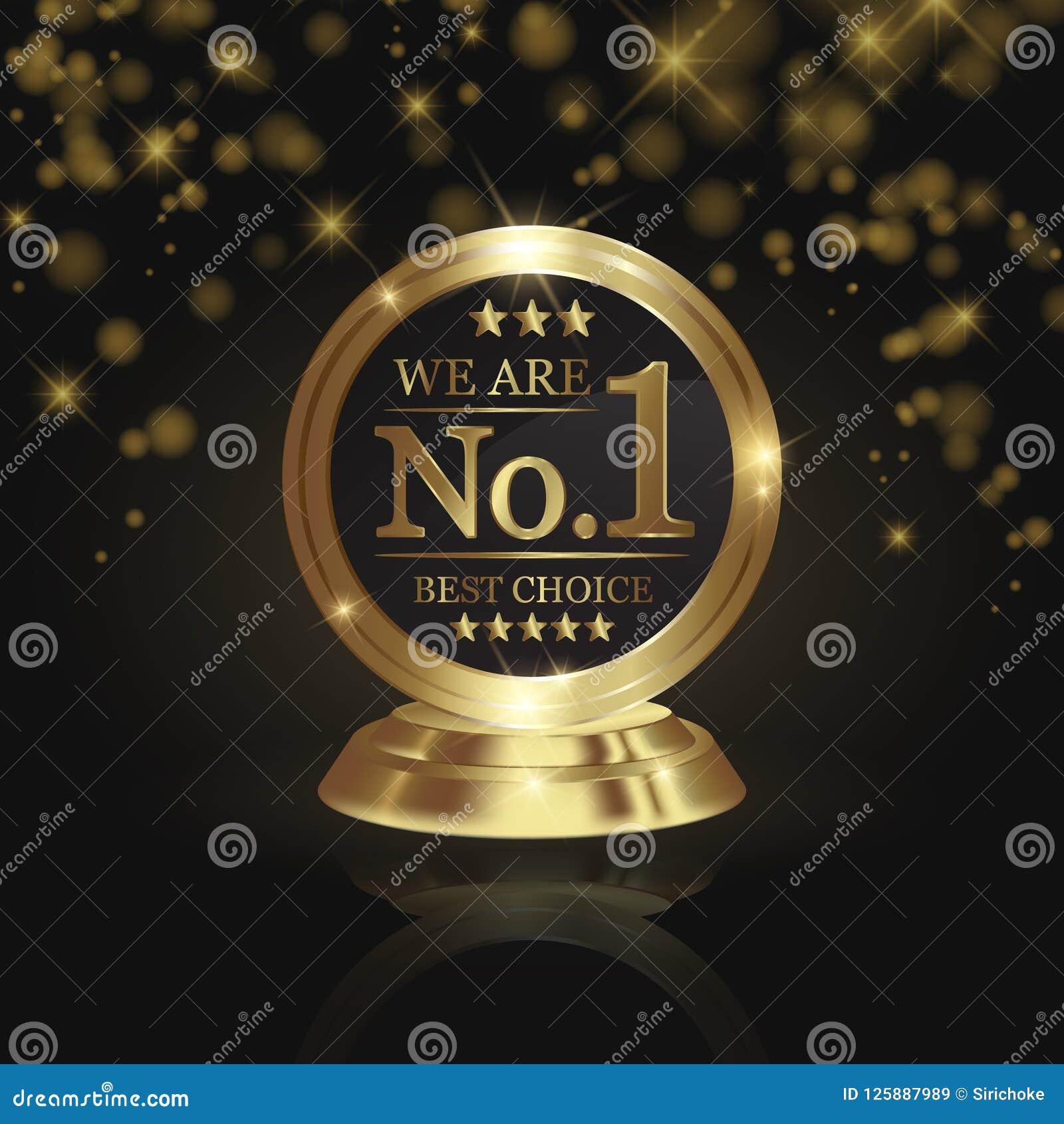 Nós somos concessão dourada do troféu do número 1 na estrela brilhante e backg escuro