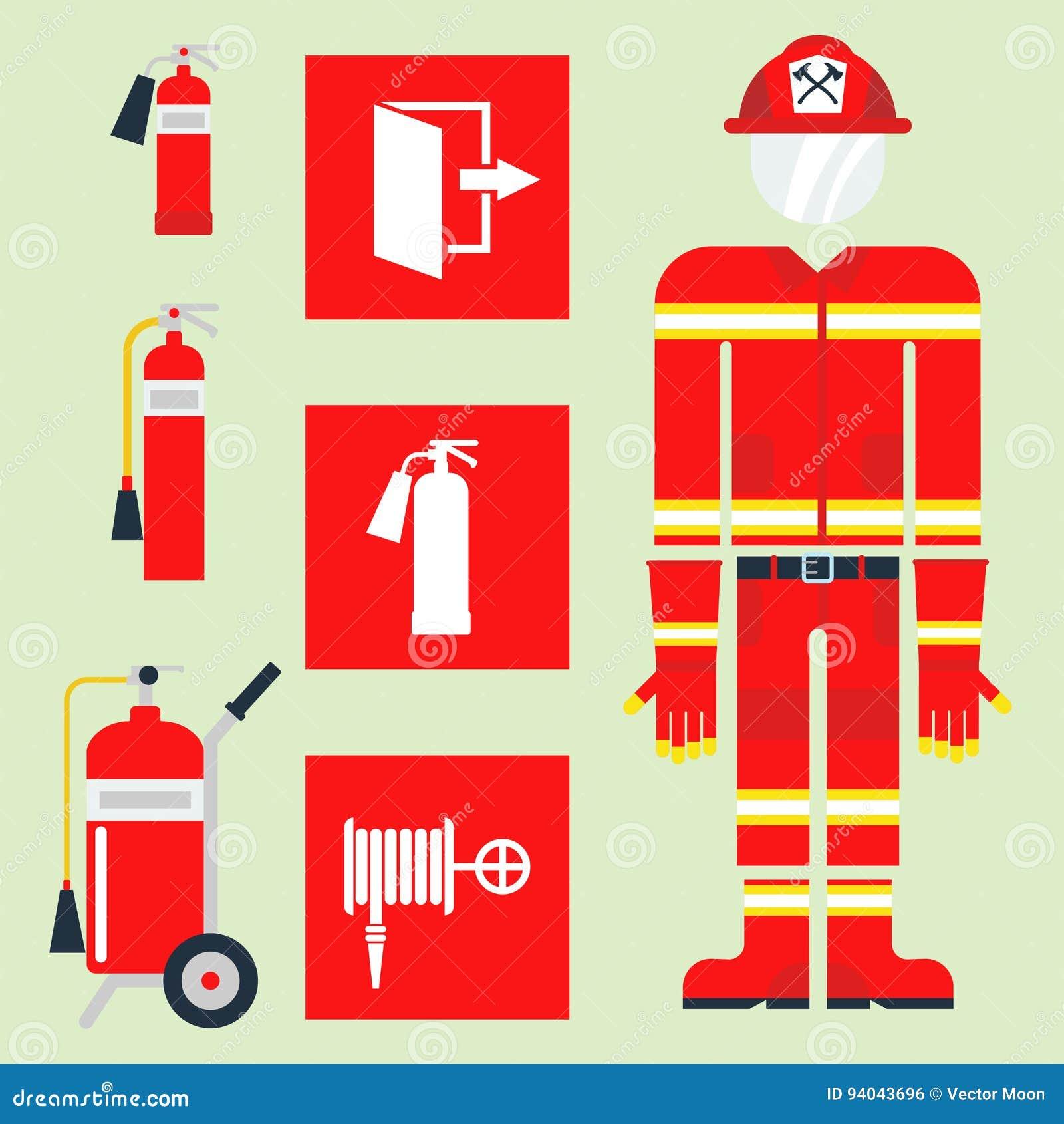 Nödläget för brandsäkerhetsutrustning bearbetar för faraolyckan för brandmannen den säkra illustrationen för vektorn för skydd