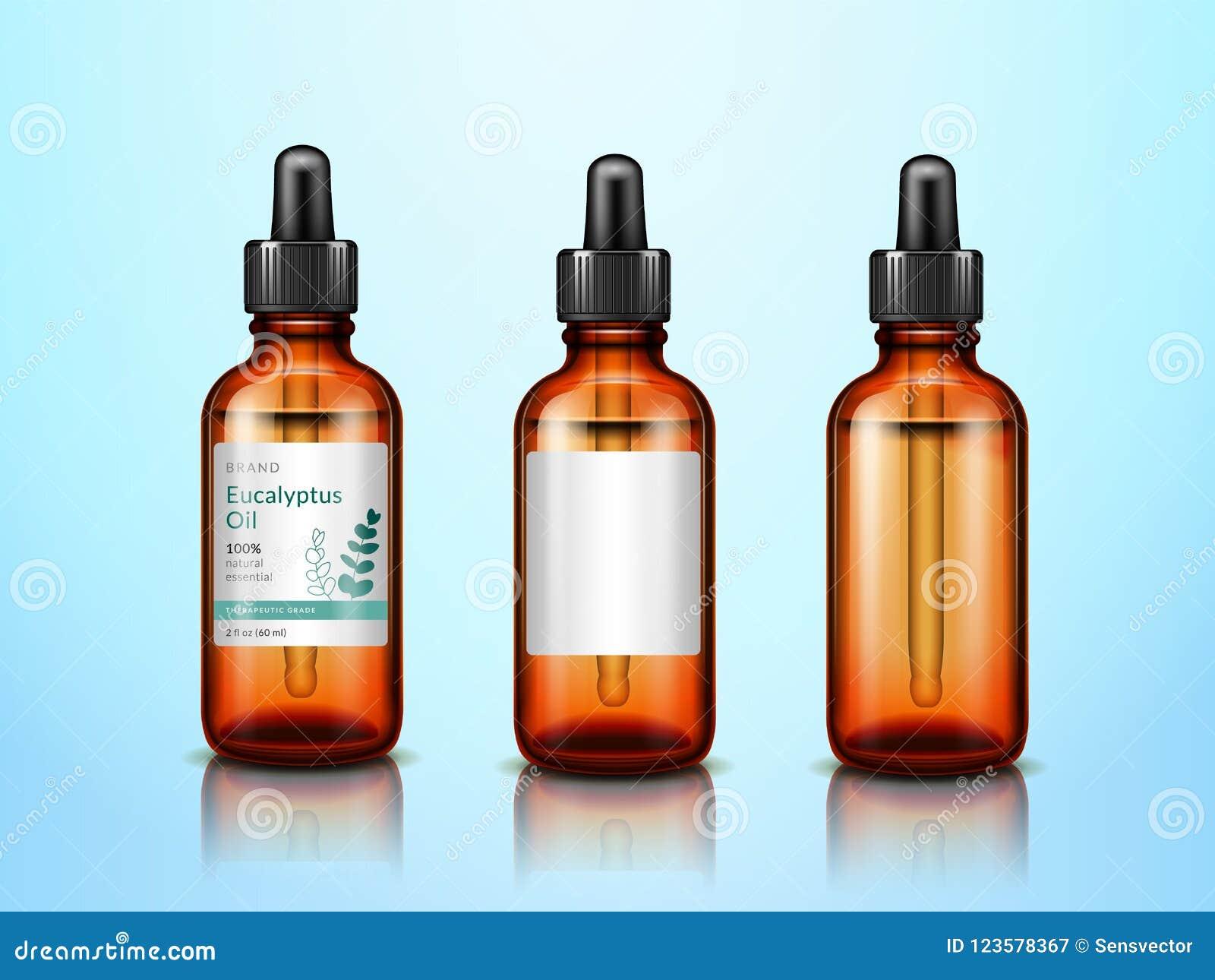 Nödvändiga olje- flaskor för eukalyptus 3d med pipetten