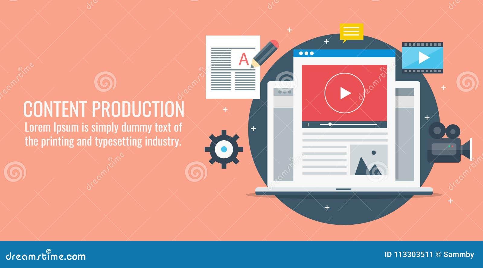 Nöjd produktion, utveckling som blogging, videoinnehåll, artikelhandstilbegrepp Plan designvektorillustration