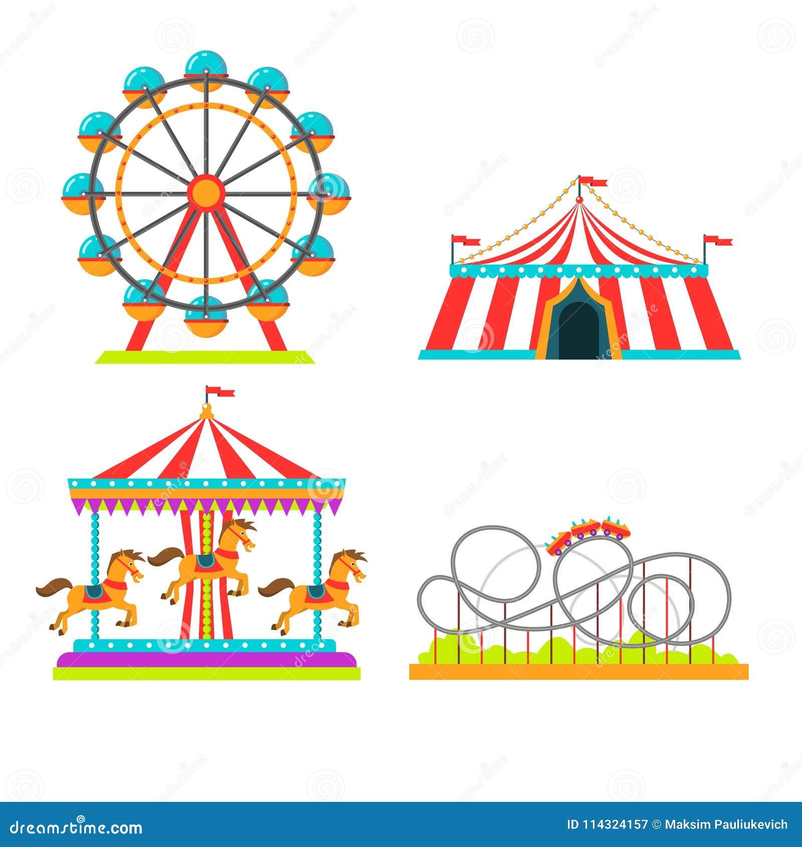 Nöjesfältvektorillustration av dragningsritter, cirkustältet, karusellkarusellen och observationshjulet eller