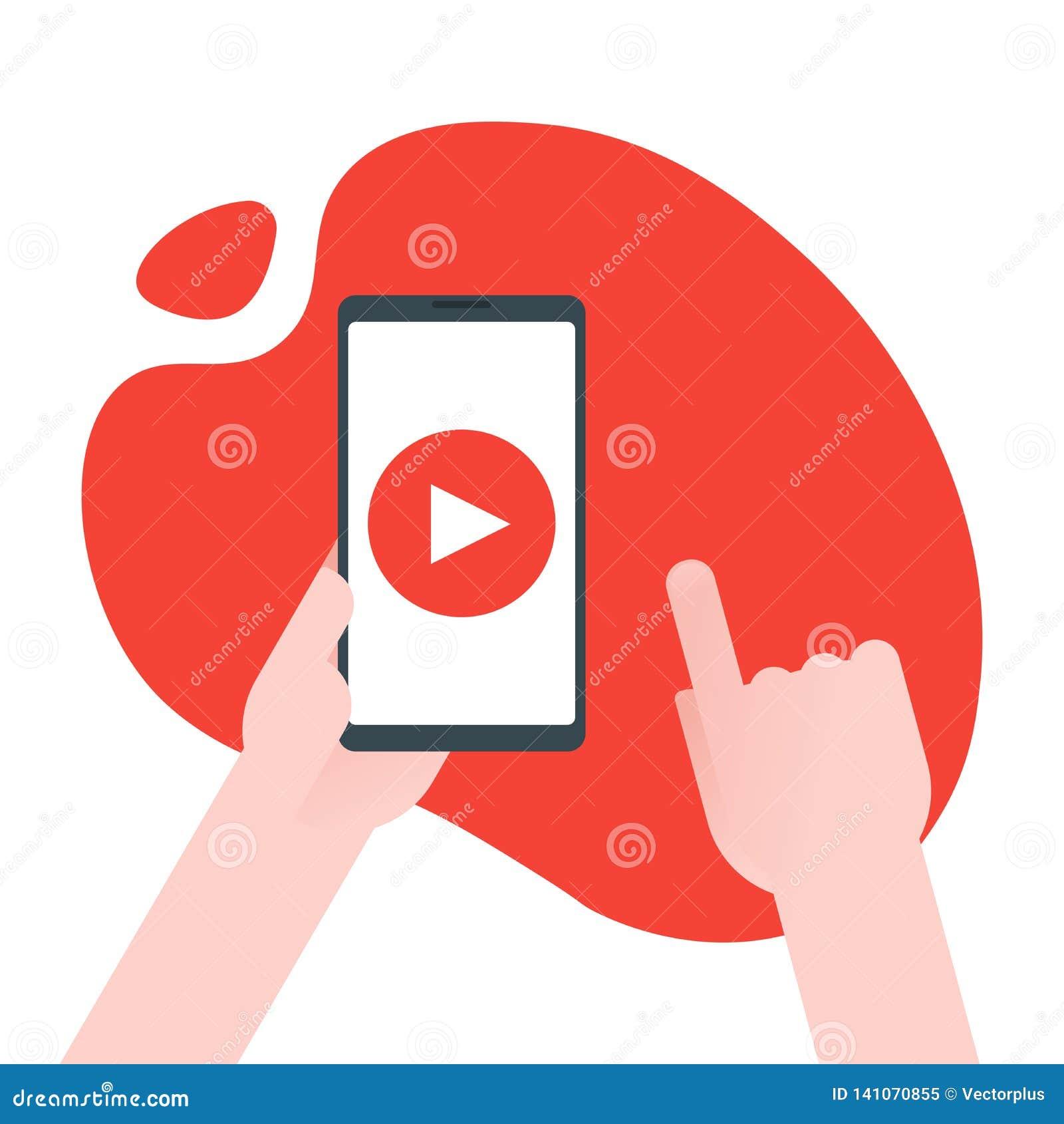 Nöjt marknadsföringsbegrepp för video Affärsmannen rymmer smartphonen med lekknappen för räckviddaffär som lär och utbildar direk